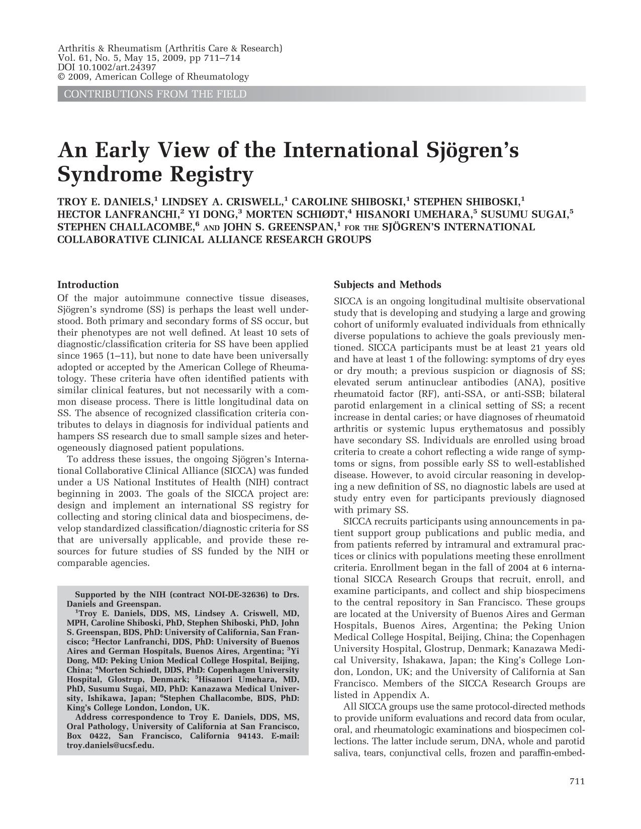 Book cover An early view of the international Sjögren's syndrome registry