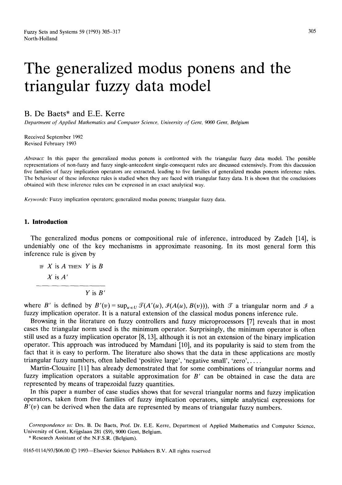 Book cover The generalized modus ponens and the triangular fuzzy data model