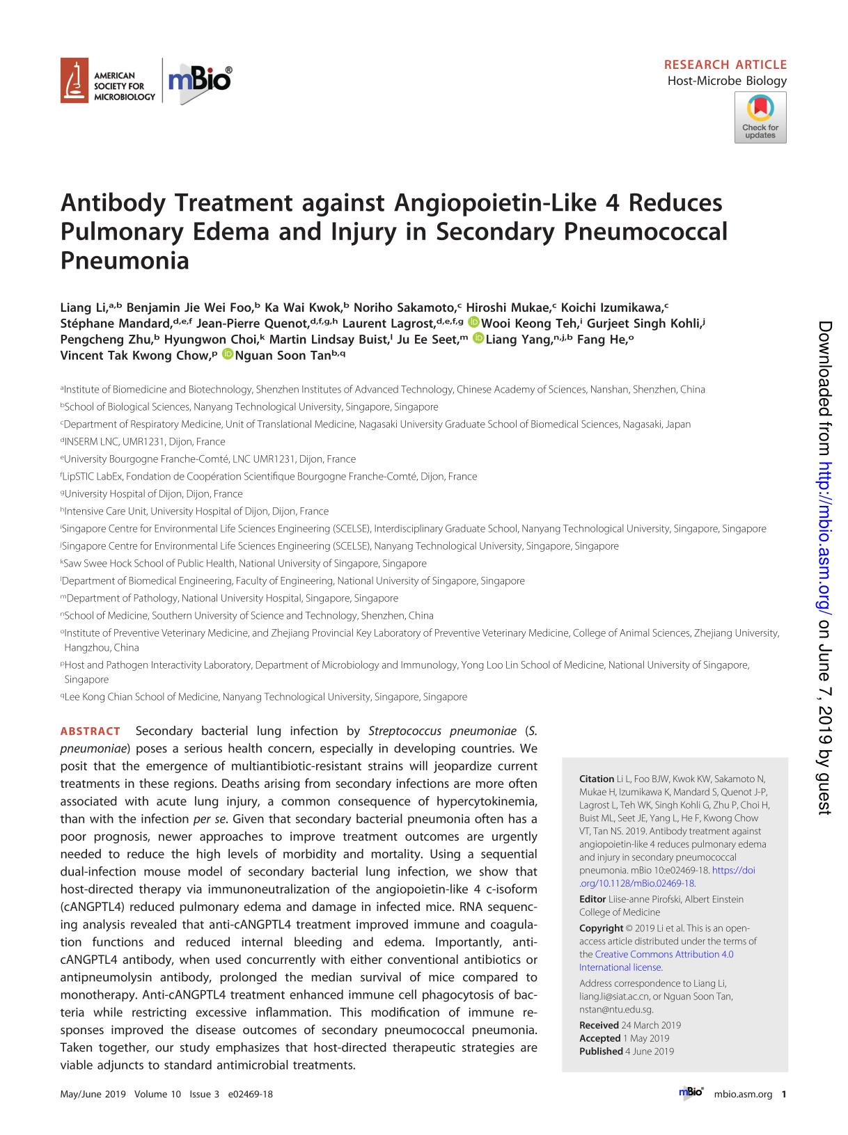 Book cover Antibody Treatment against Angiopoietin-Like 4 Reduces Pulmonary Edema and Injury in Secondary Pneumococcal Pneumonia