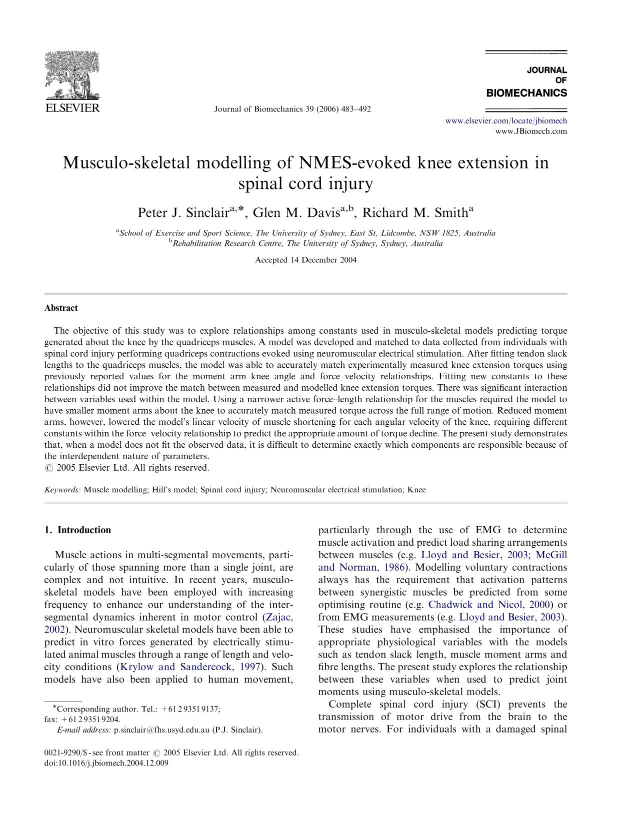 Kover buku Musculo-skeletal modelling of NMES-evoked knee extension in spinal cord injury