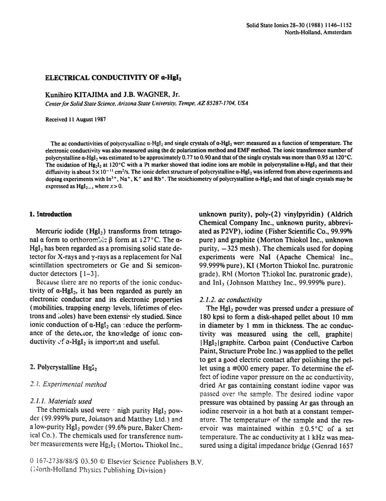 書籍の表紙 Electrical conductivity of α-HgI2