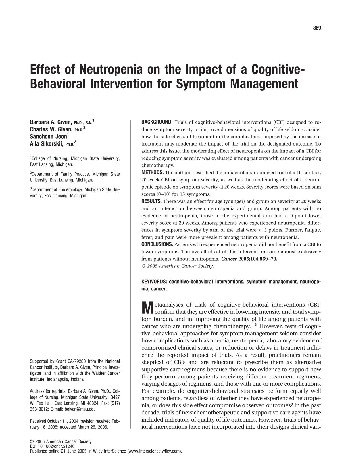 Book cover Effect of neutropenia on the impact of a cognitive-behavioral intervention for symptom management