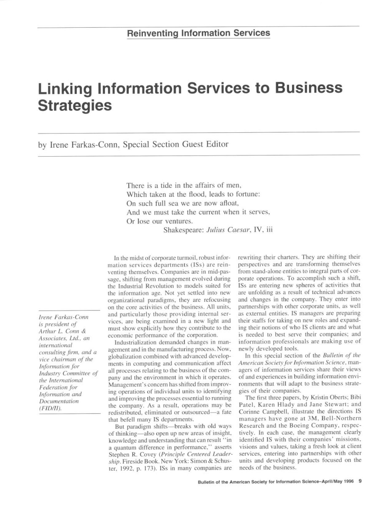 Book cover Linking Information Services to Business Strategies