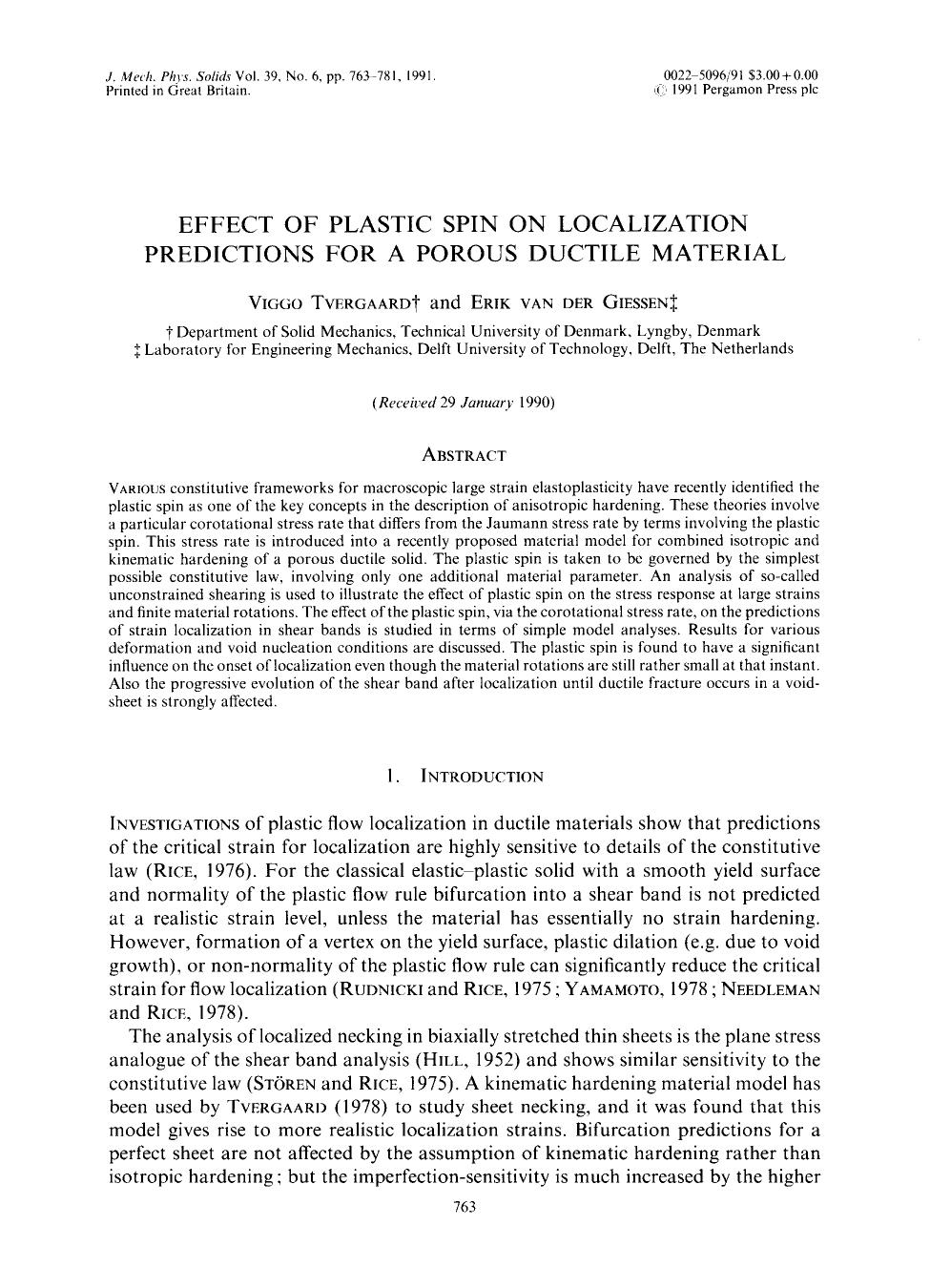 Book cover Effect of plastic spin on localization predictions for a porous ductile material