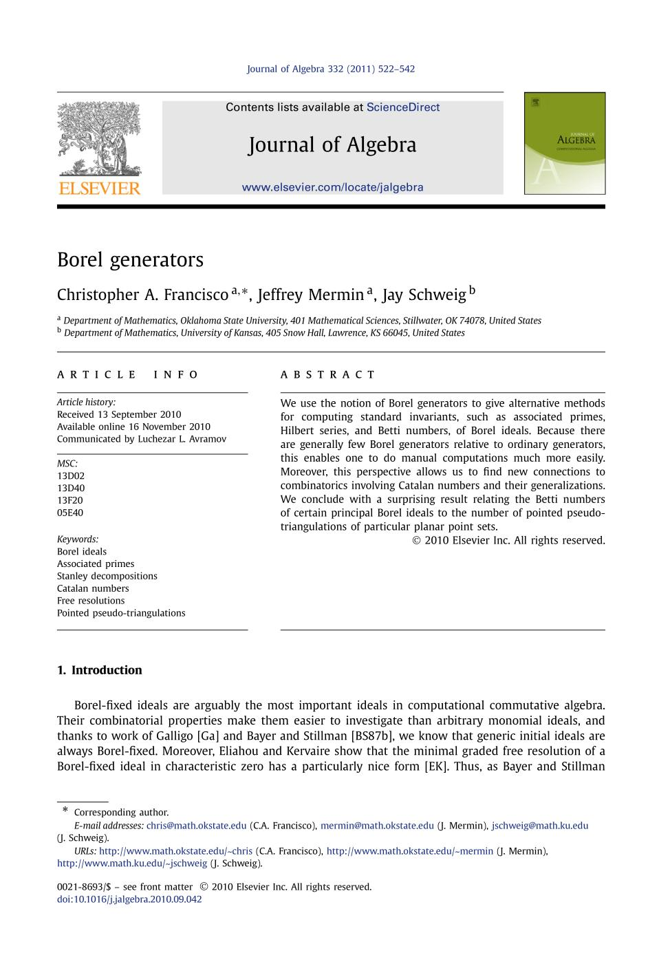 Book cover Borel generators