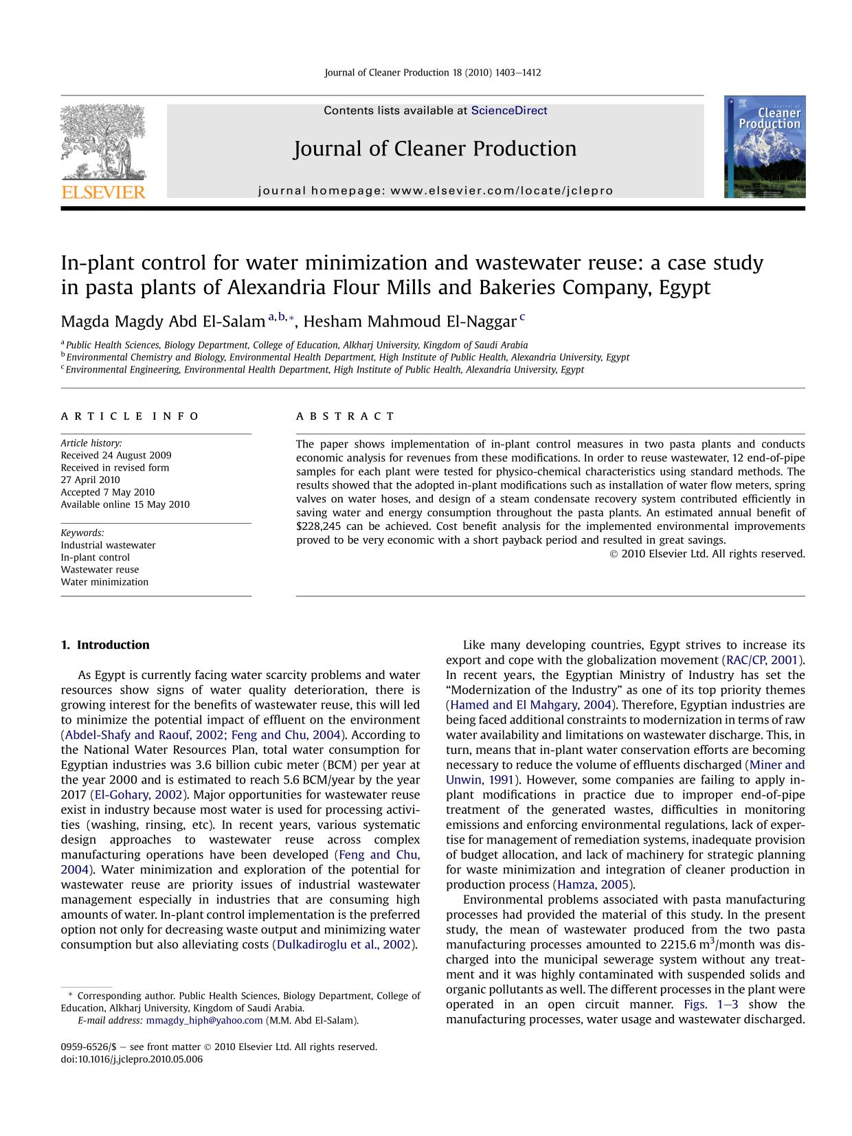 Book cover In-plant control for water minimization and wastewater reuse: a case study in pasta plants of Alexandria Flour Mills and Bakeries Company, Egypt
