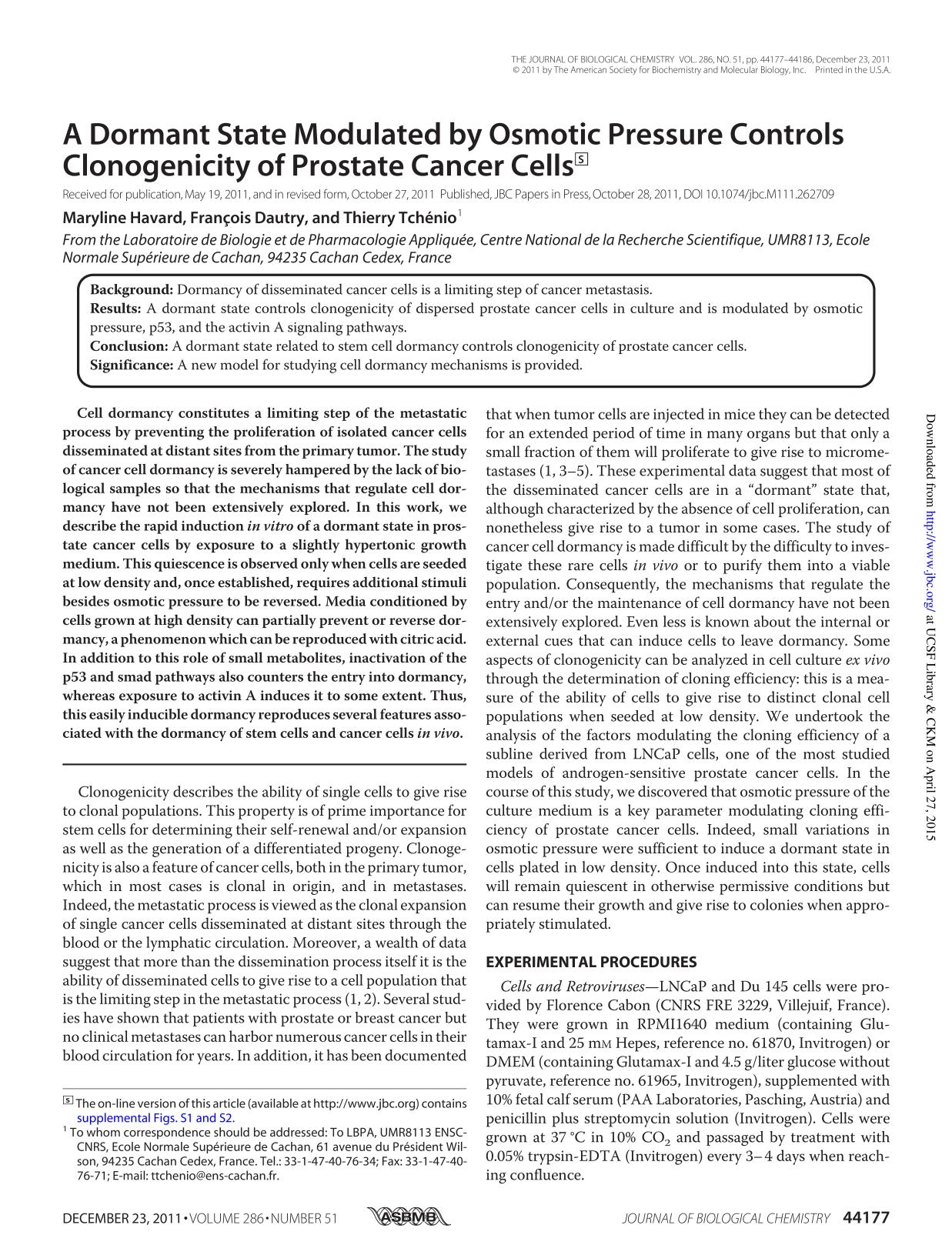 Book cover A Dormant State Modulated by Osmotic Pressure Controls Clonogenicity of Prostate Cancer Cells