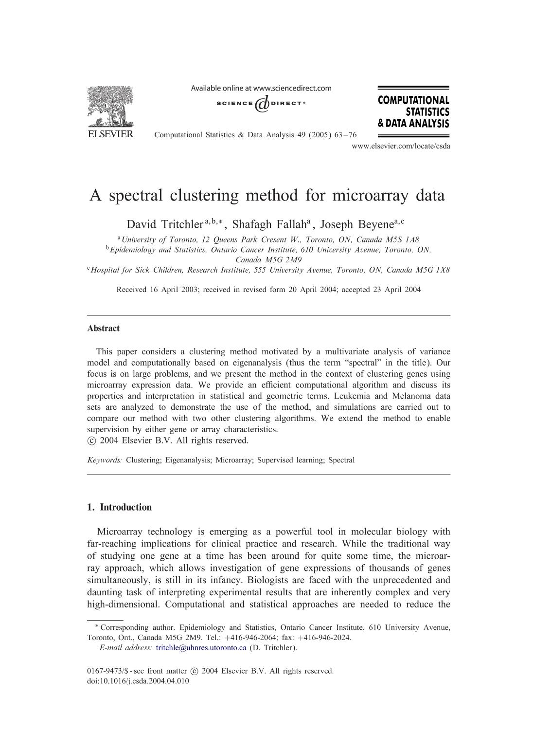 Book cover A spectral clustering method for microarray data