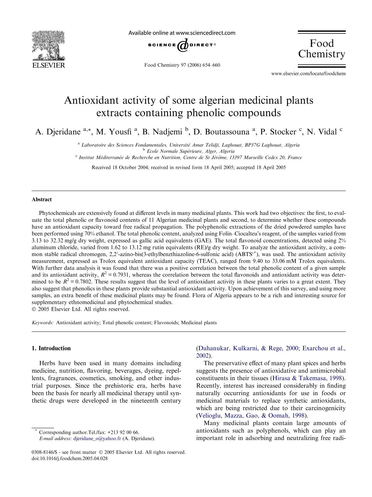Book cover Antioxidant activity of some algerian medicinal plants extracts containing phenolic compounds