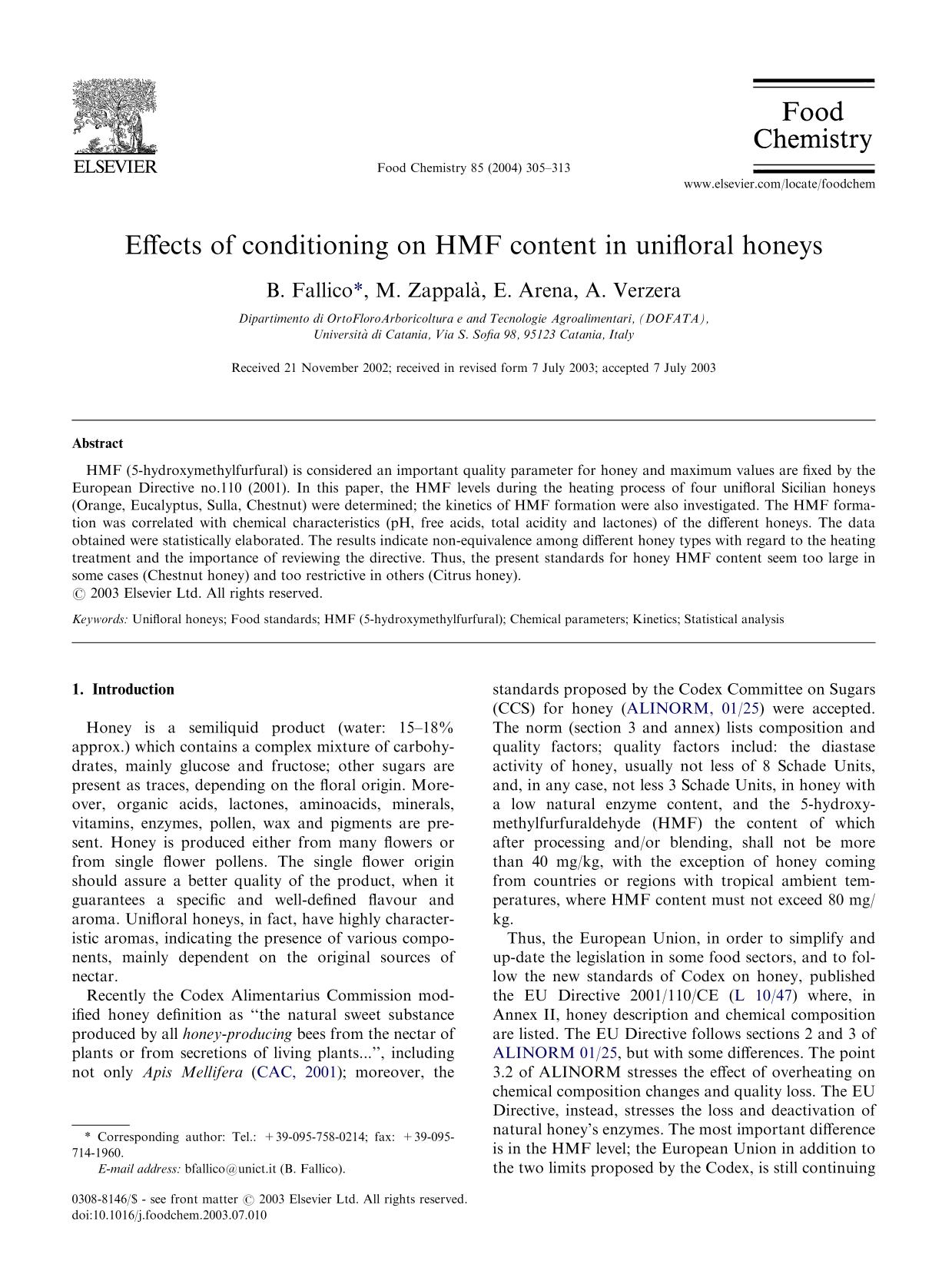 Book cover Effects of conditioning on HMF content in unifloral honeys