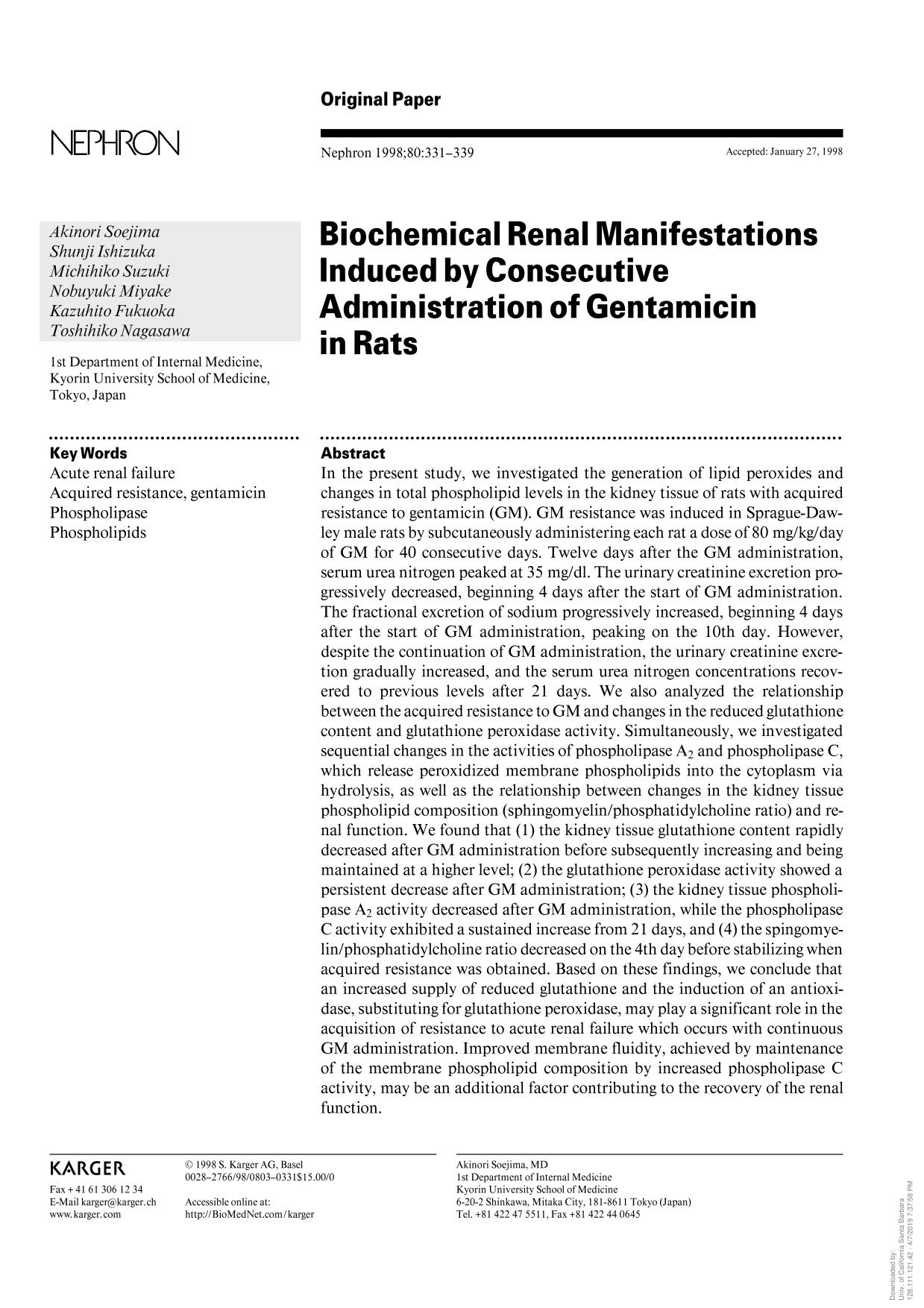 Book cover Biochemical Renal Manifestations Induced by Consecutive Administration of Gentamicin in Rats
