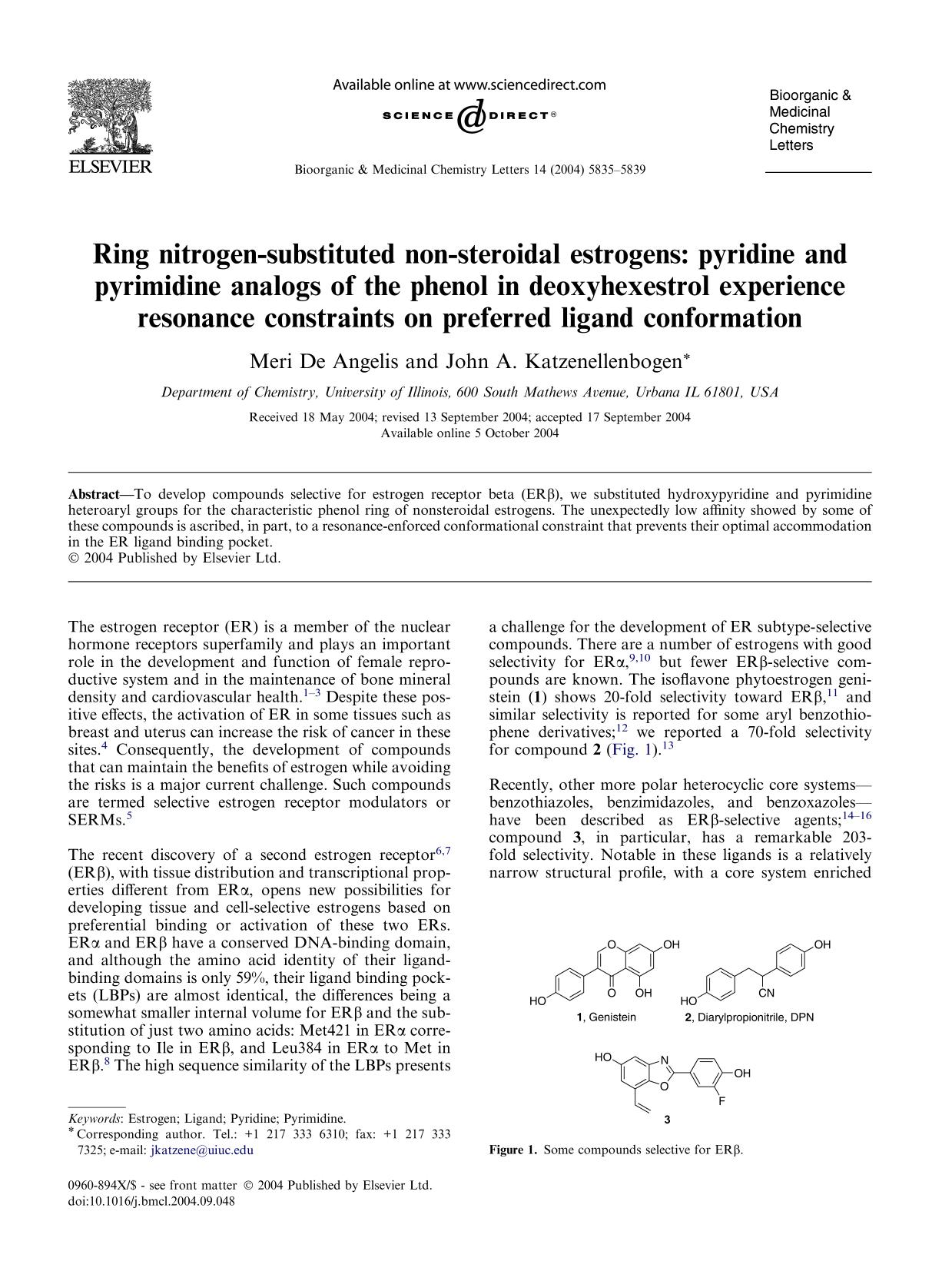 Обложка книги Ring nitrogen-substituted non-steroidal estrogens: pyridine and pyrimidine analogs of the phenol in deoxyhexestrol experience resonance constraints on preferred ligand conformation