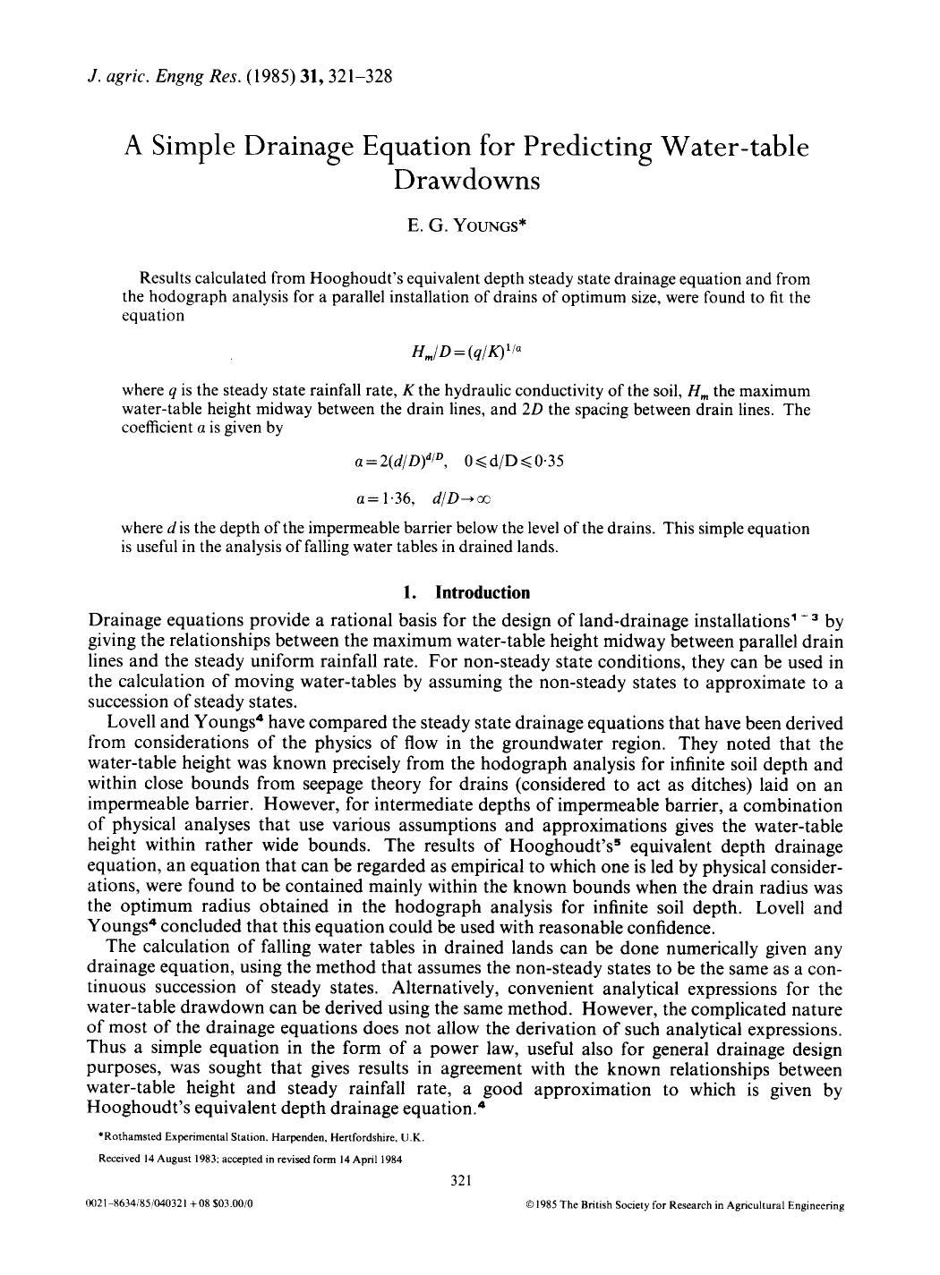 Book cover A simple drainage equation for predicting water-table drawdowns