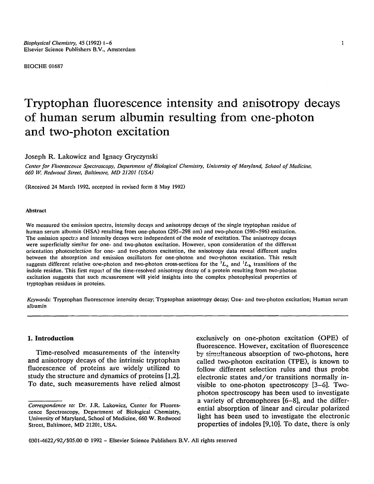 Kover buku Tryptophan fluorescence intensity and anisotropy decays of human serum albumin resulting from one-photon and two-photon excitation