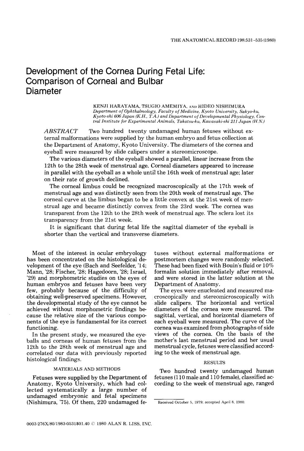 Book cover Development of the cornea during fetal life: Comparison of corneal and bulbar diameter