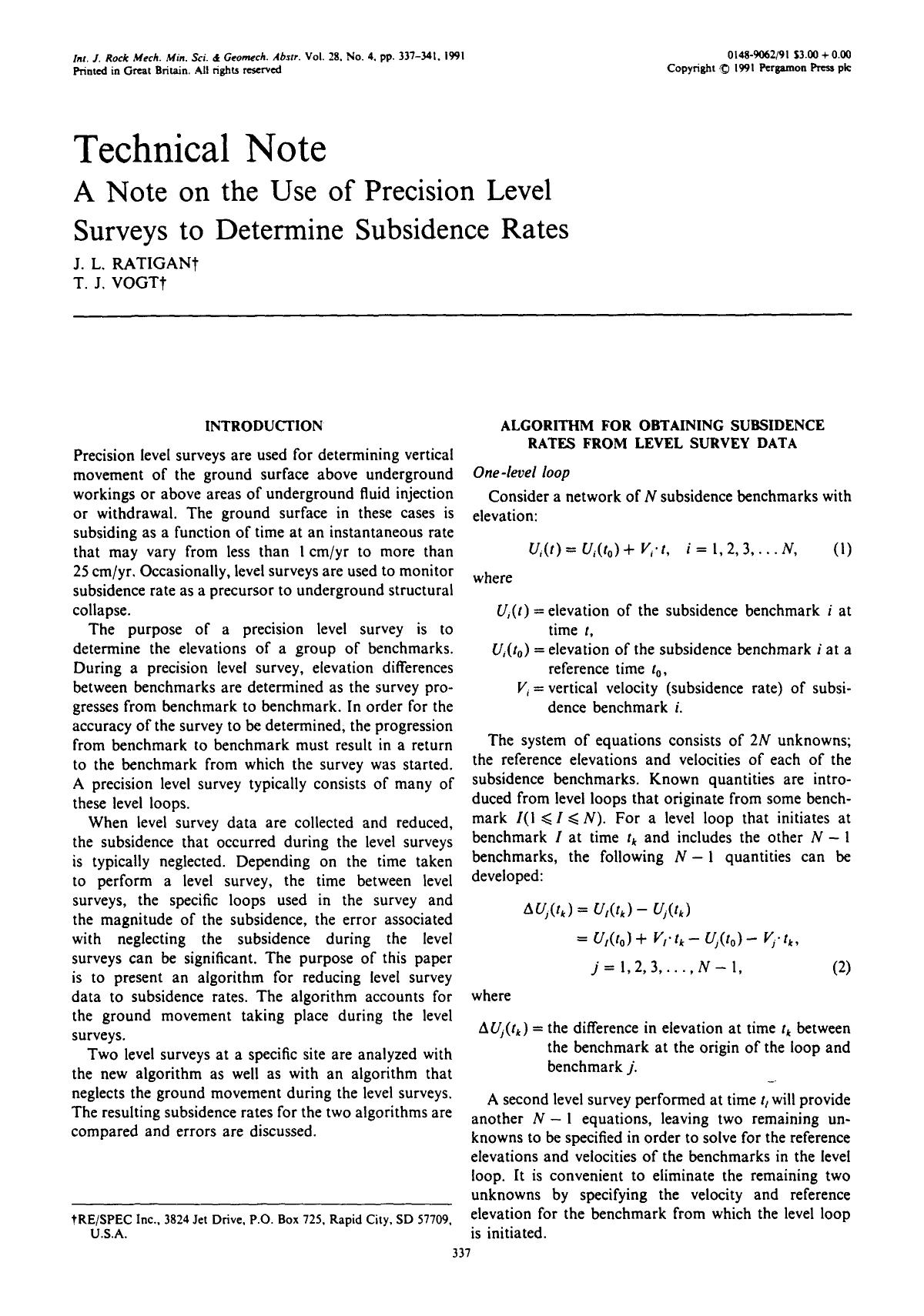 Book cover A note on the use of precision level surveys to determine subsidence rates
