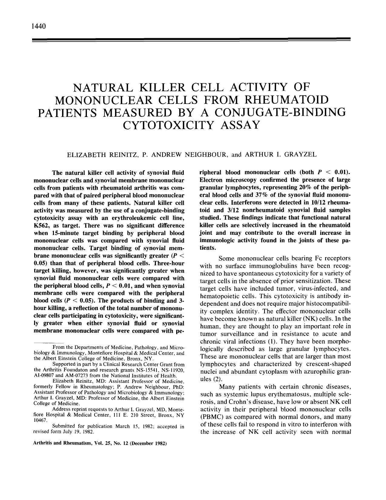 Book cover Natural killer cell activity of mononuclear cells from rheumatoid patients measured by a conjugate-binding cytotoxicity assay