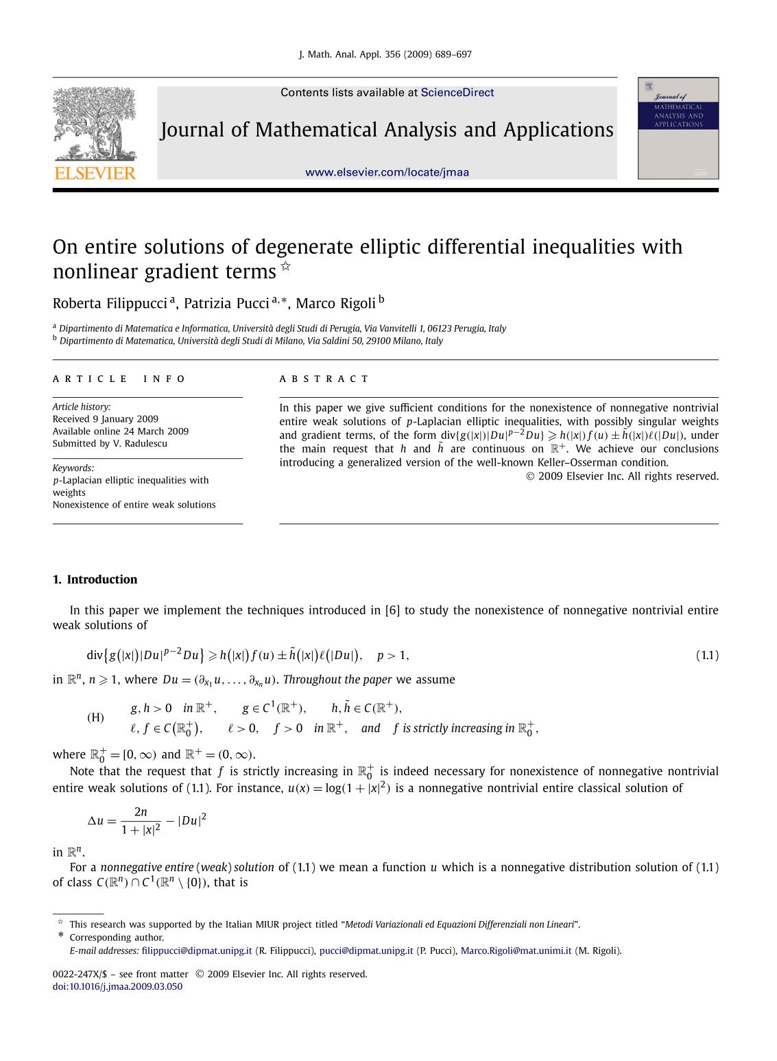 Book cover On entire solutions of degenerate elliptic differential inequalities with nonlinear gradient terms