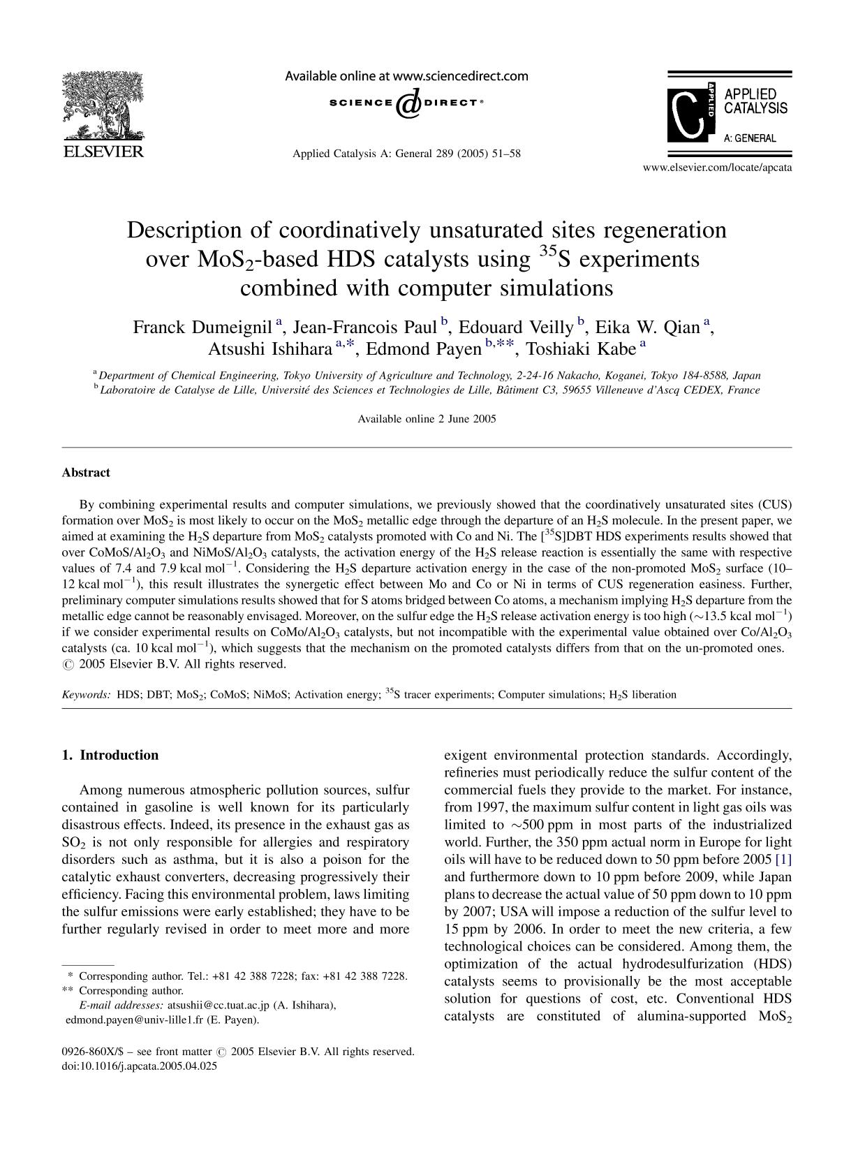 Book cover Description of coordinatively unsaturated sites regeneration over MoS2-based HDS catalysts using 35S experiments combined with computer simulations