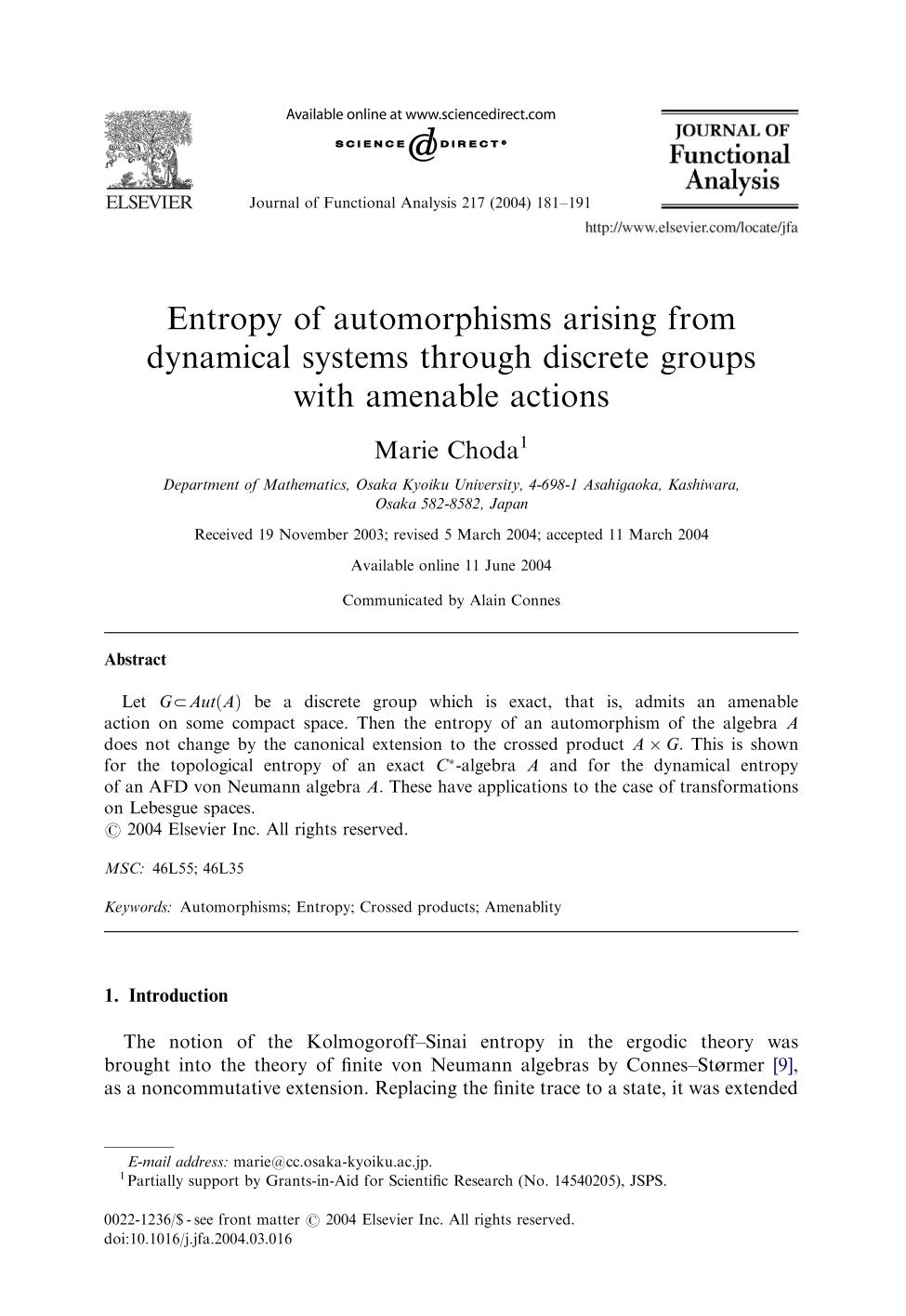 capa de livro Entropy of automorphisms arising from dynamical systems through discrete groups with amenable actions