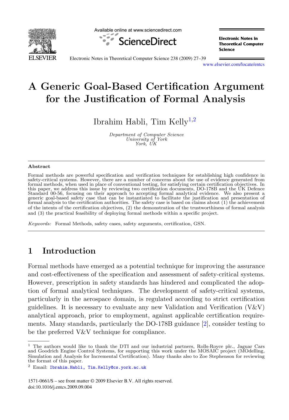 Copertina del libro A Generic Goal-Based Certification Argument for the Justification of Formal Analysis