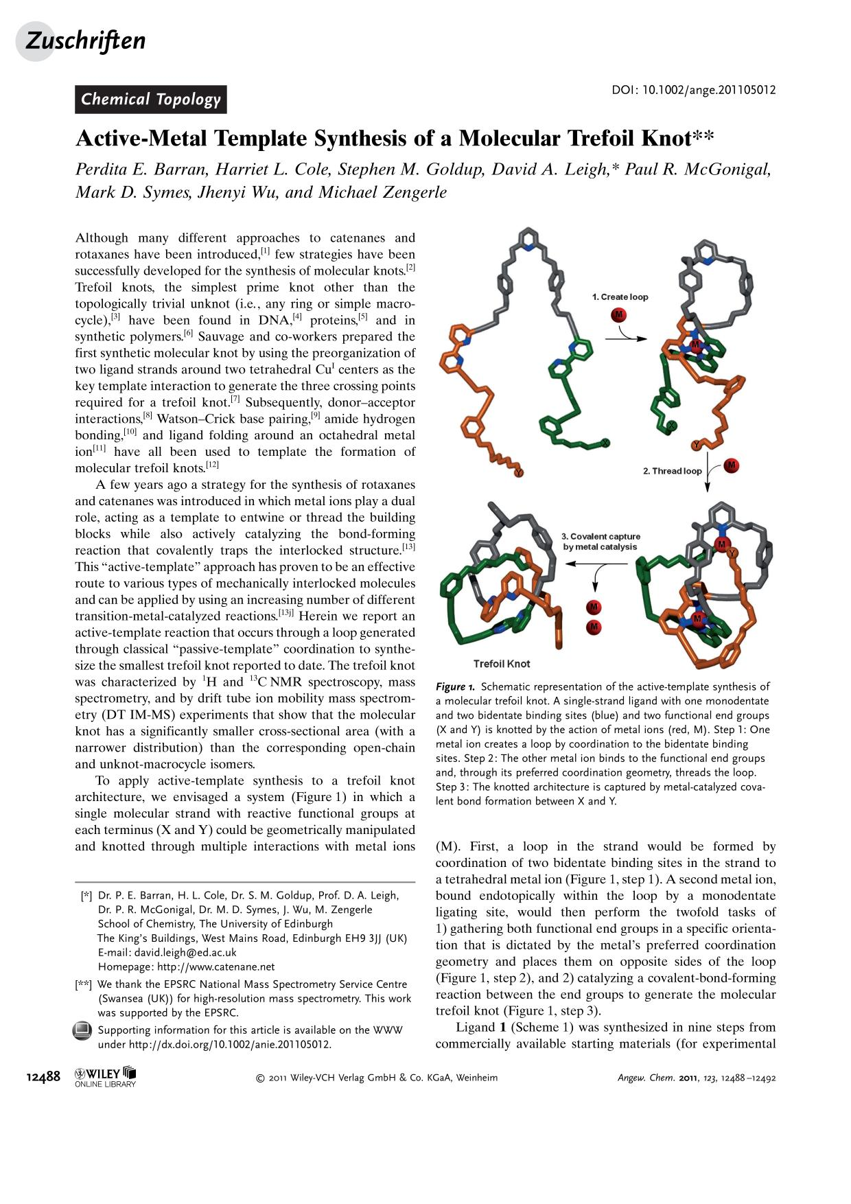 Book cover Active-Metal Template Synthesis of a Molecular Trefoil Knot