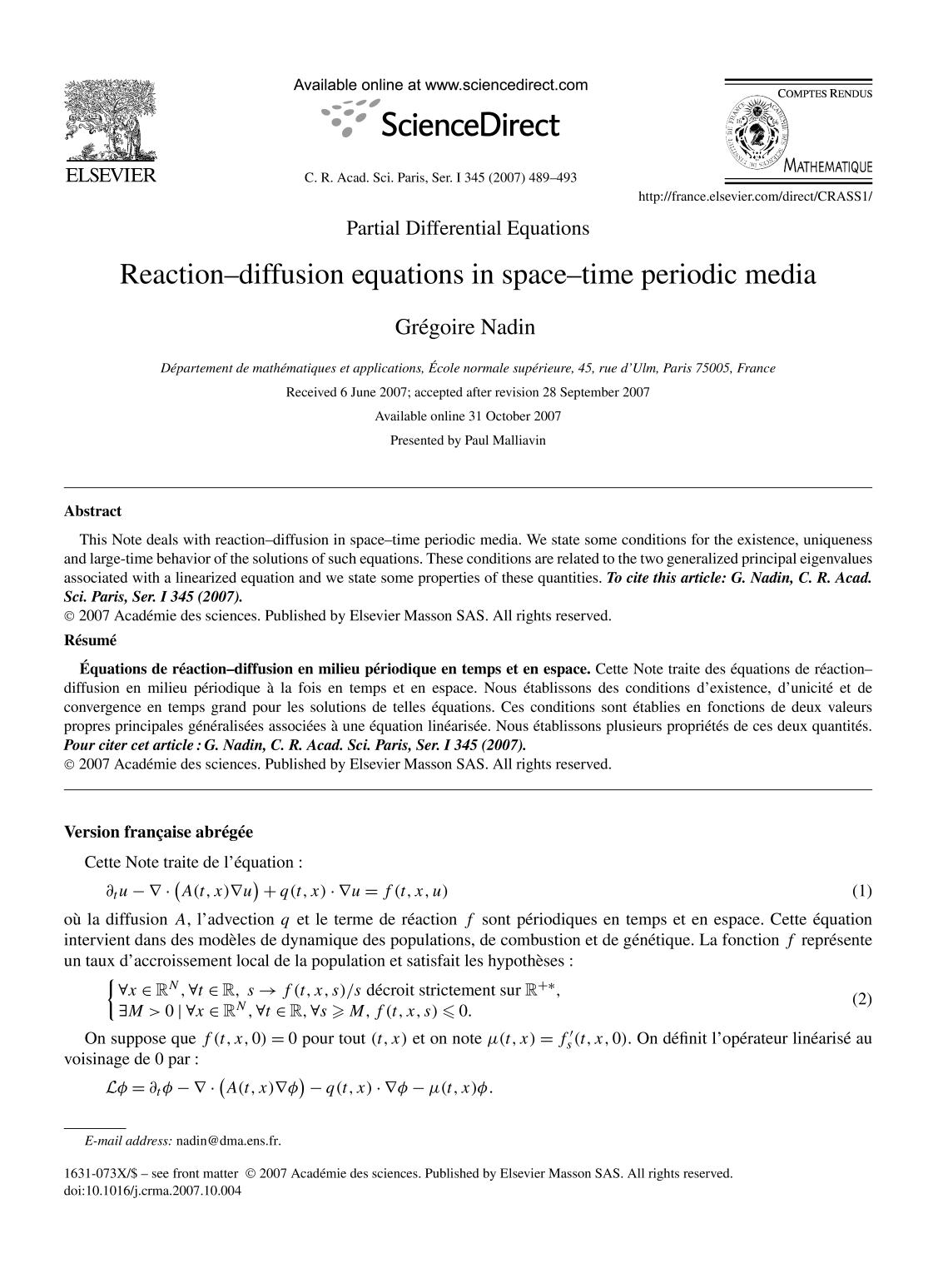 Book cover Reaction–diffusion equations in space–time periodic media