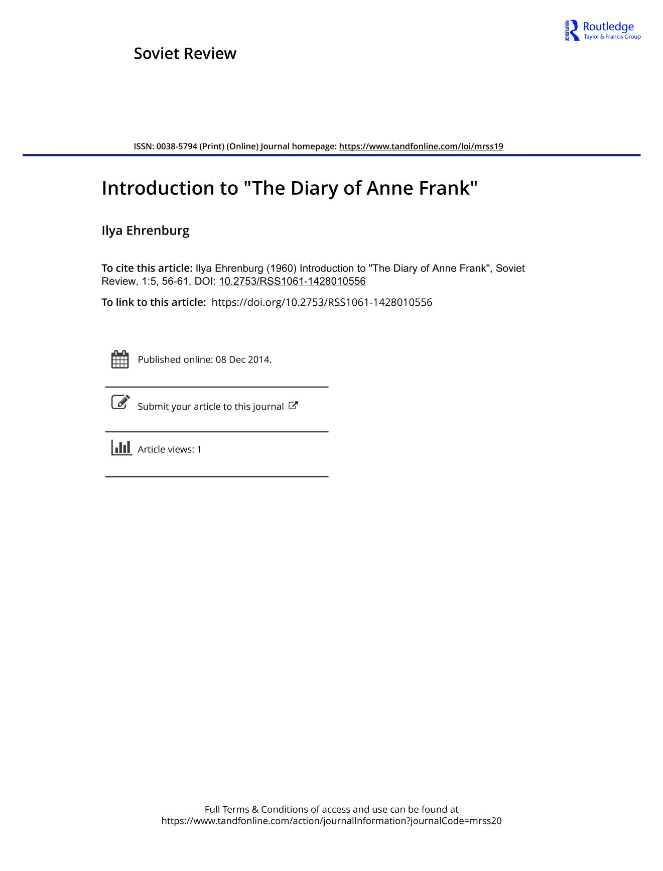 "Book cover Introduction to ""The Diary of Anne Frank"""