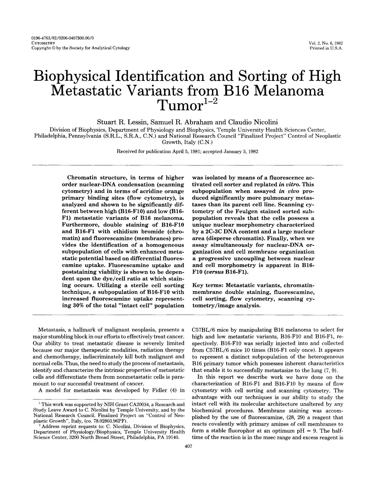 Book cover Biophysical identification and sorting of high metastatic variants from B16 melanoma tumor