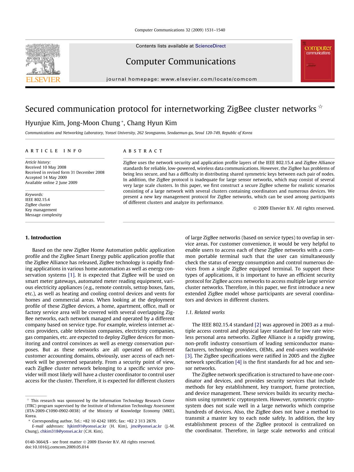 Book cover Secured communication protocol for internetworking ZigBee cluster networks
