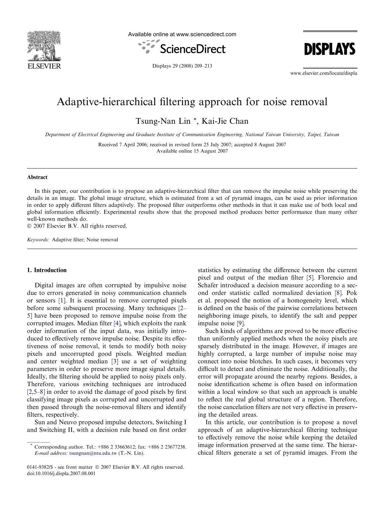Portada del libro Adaptive-hierarchical filtering approach for noise removal