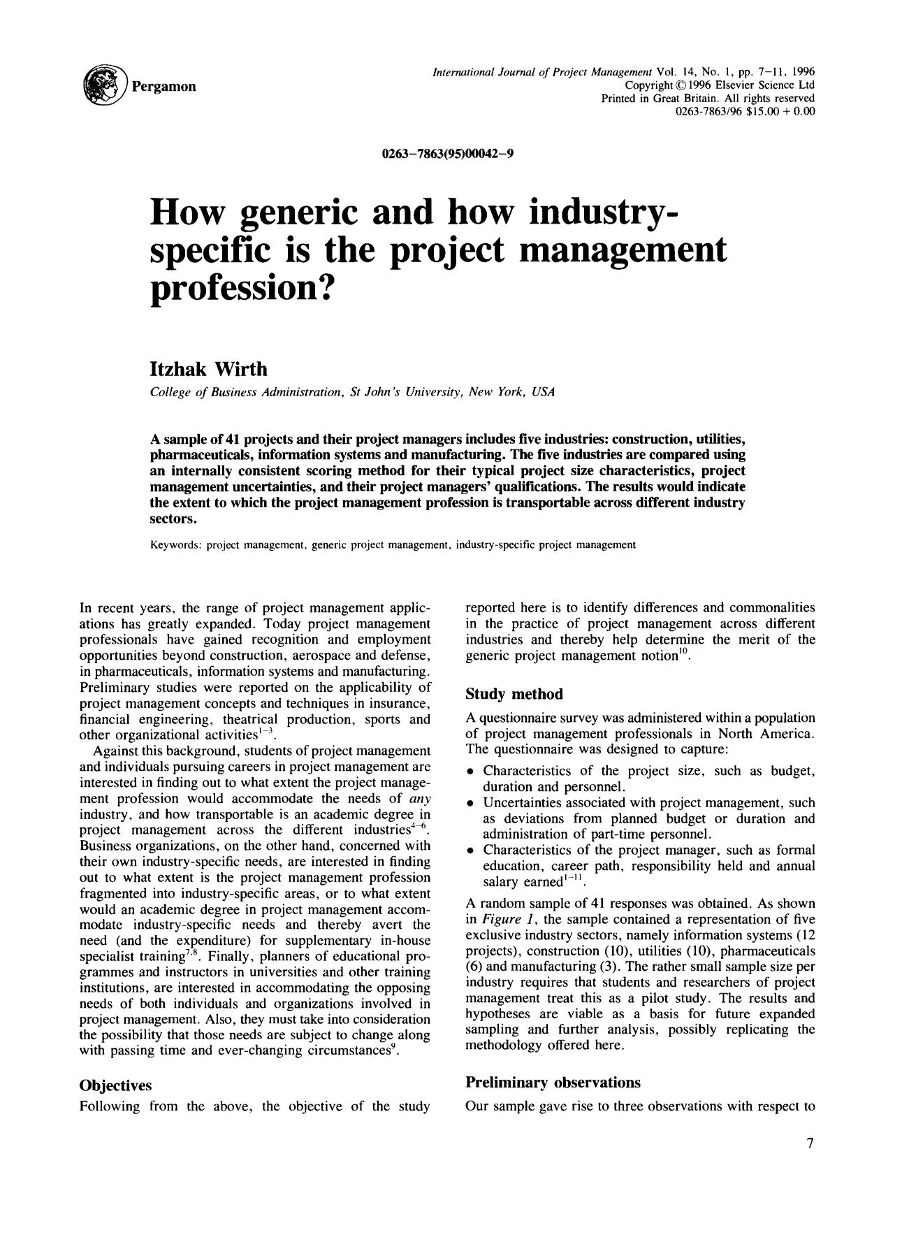 Book cover How generic and how industry — specific is the project management profession?
