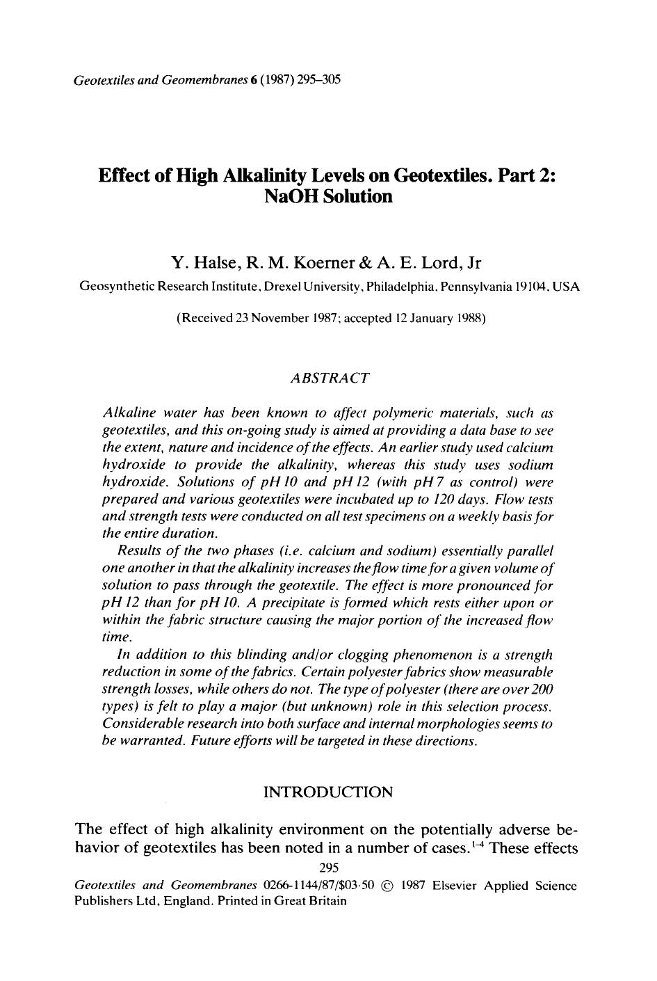 Book cover Effect of high alkalinity levels on geotextiles. Part 2: NaOH solution