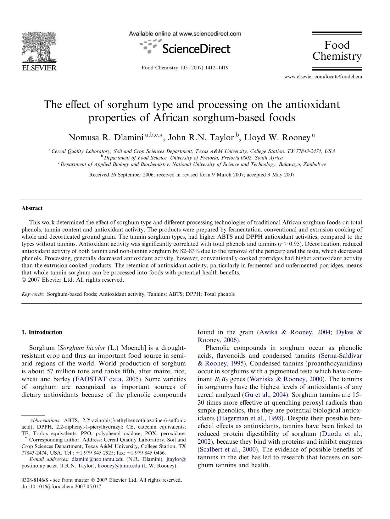 Book cover The effect of sorghum type and processing on the antioxidant properties of African sorghum-based foods