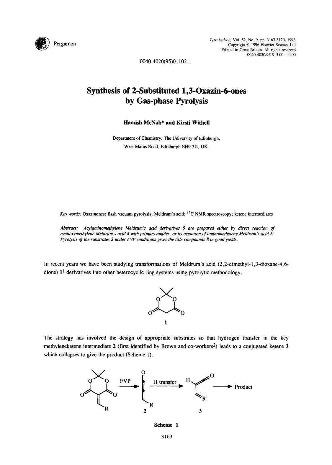 Book cover Synthesis of 2-substituted 1,3-oxazin-6-ones by gas-phase pyrolysis