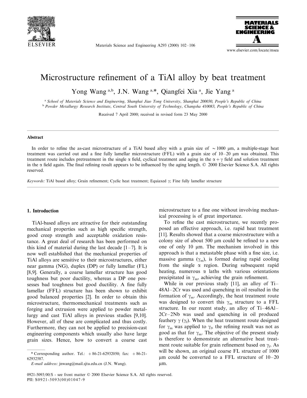 Обкладинка книги Microstructure refinement of a TiAl alloy by beat treatment