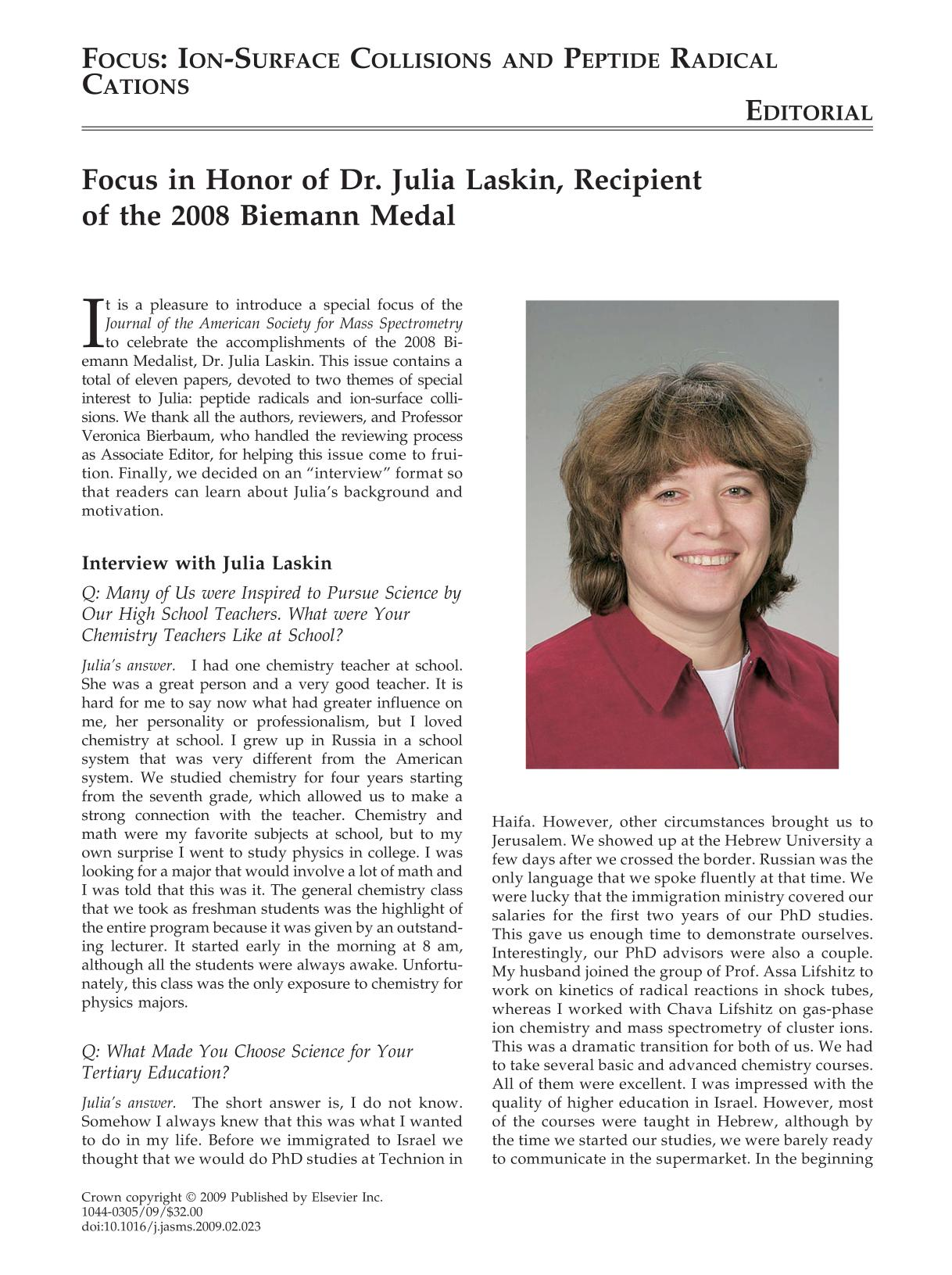 Book cover Focus in Honor of Dr. Julia Laskin, Recipient of the 2008 Biemann Medal