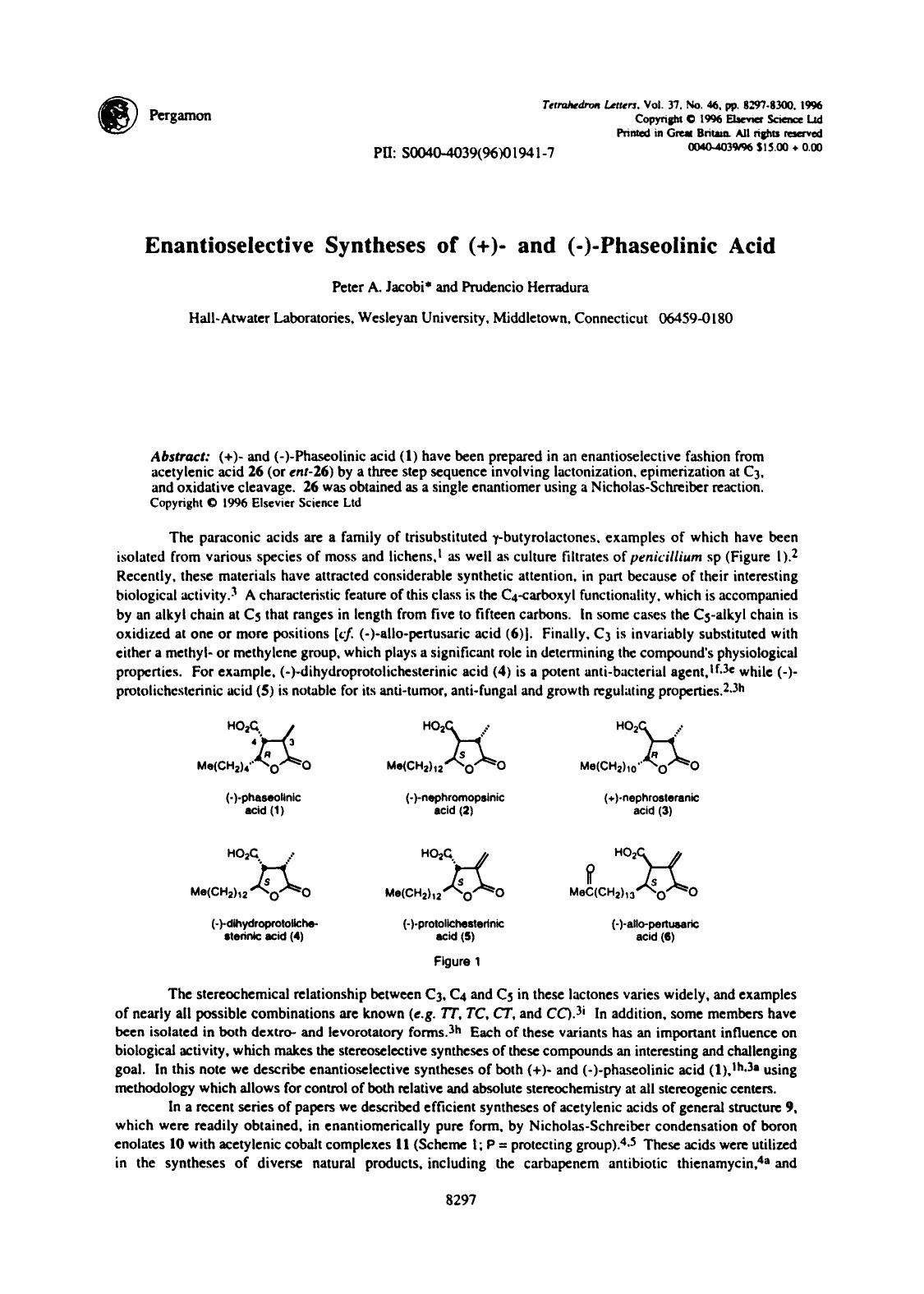 Copertina del libro Enantioselective syntheses of (+)- and (−)-Phaseolinic acid