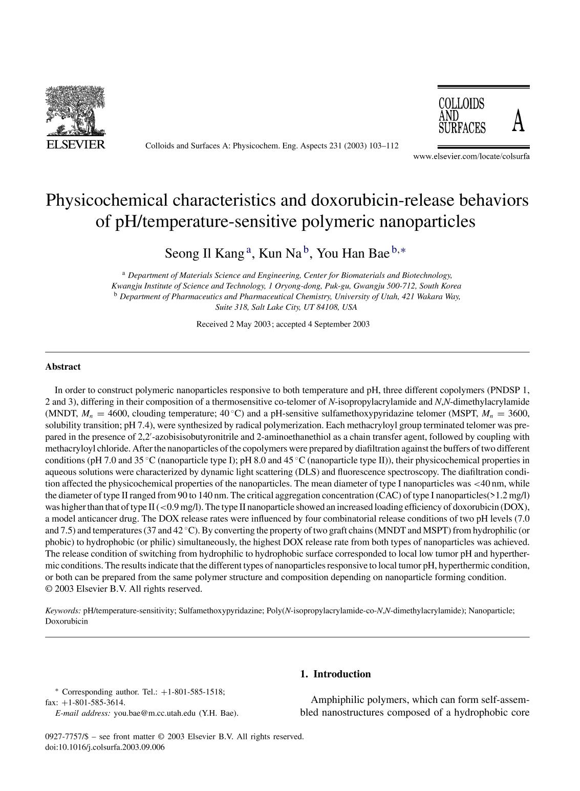 पुस्तक आवरण Physicochemical characteristics and doxorubicin-release behaviors of pH/temperature-sensitive polymeric nanoparticles