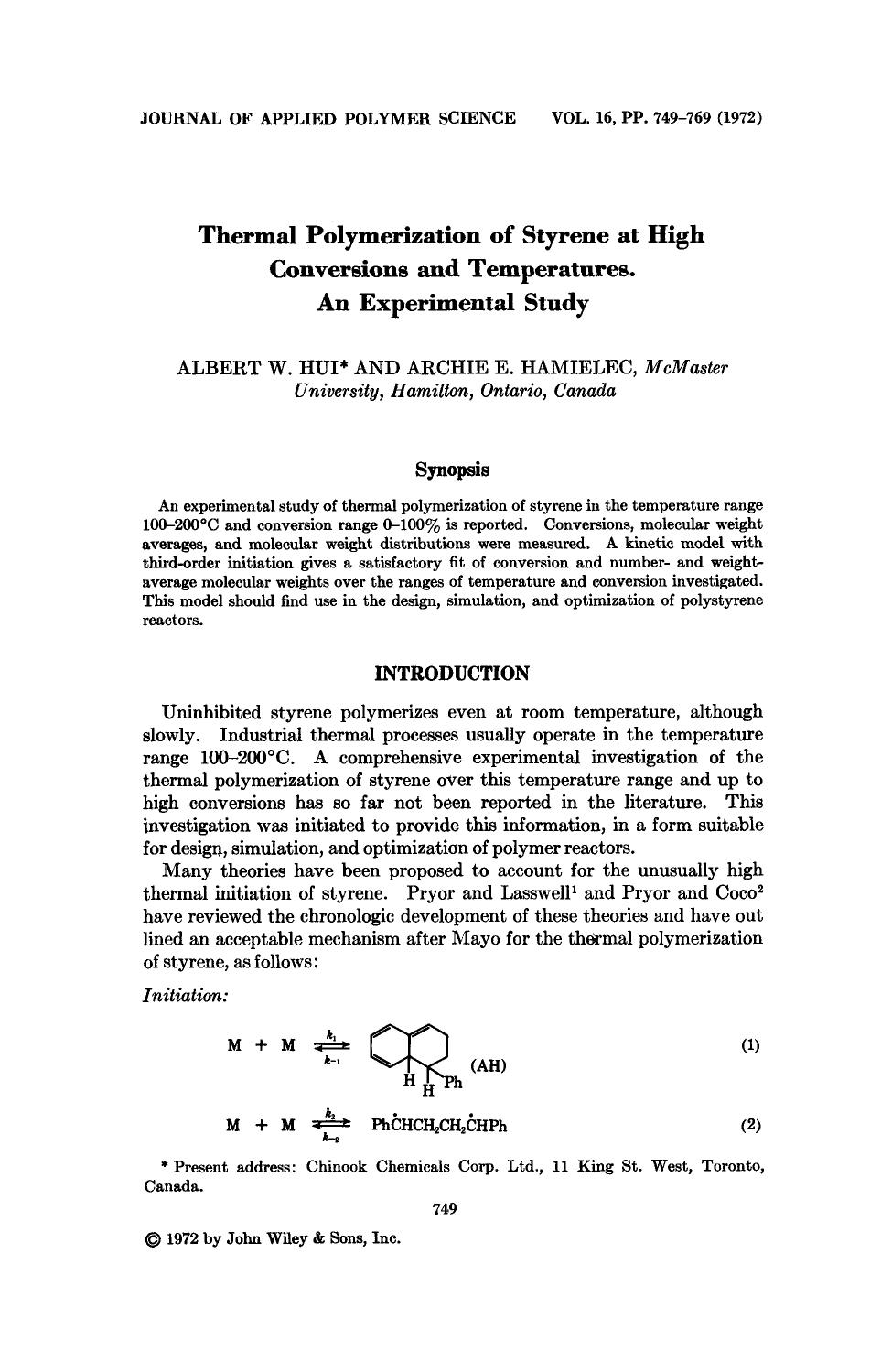 Book cover Thermal polymerization of styrene at high conversions and temperatures. An experimental study
