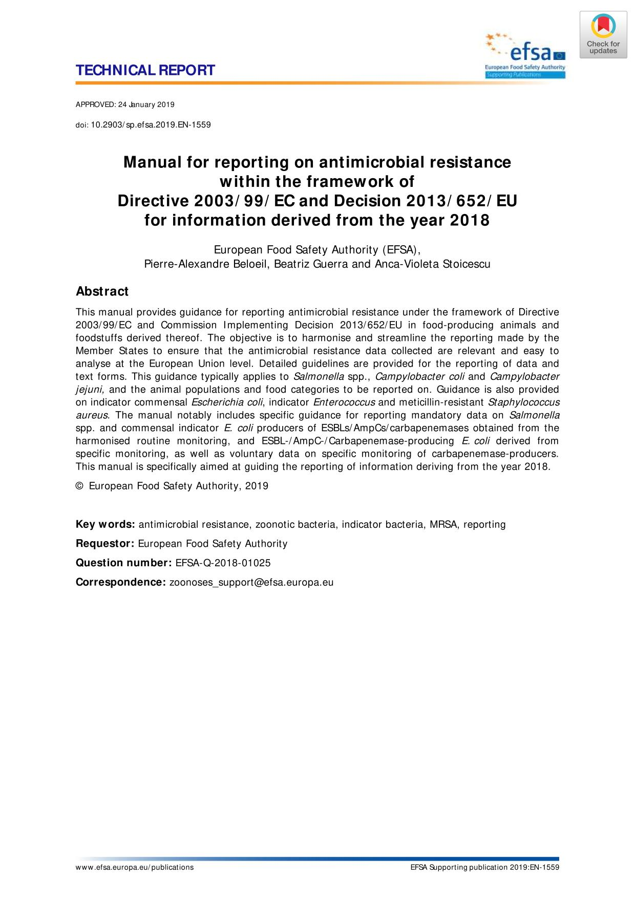 Обкладинка книги Manual for reporting on antimicrobial resistance within the framework of Directive 2003/99/EC and Decision 2013/652/EU for information derived from the year 2018