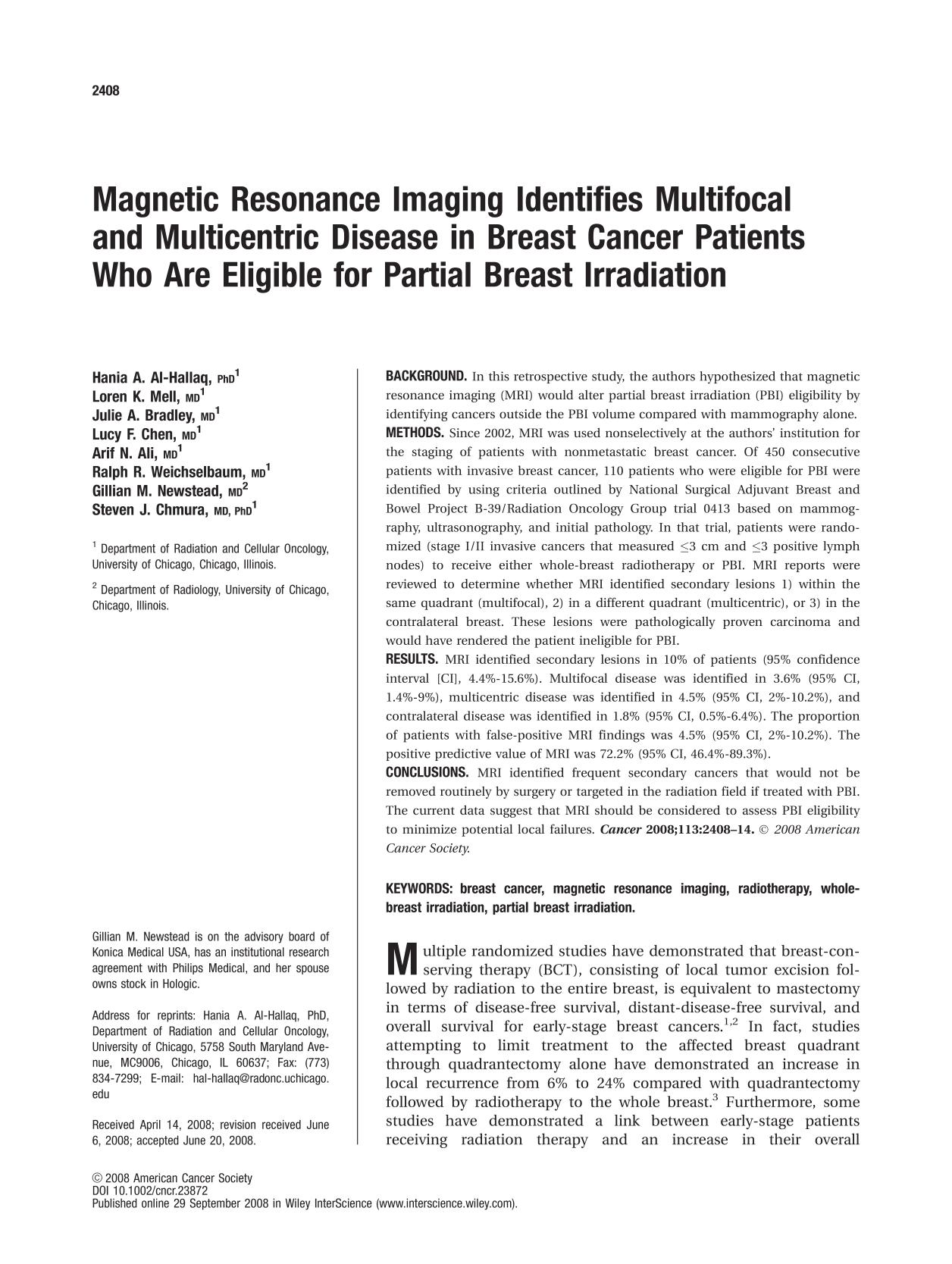 Book cover Magnetic resonance imaging identifies multifocal and multicentric disease in breast cancer patients who are eligible for partial breast irradiation
