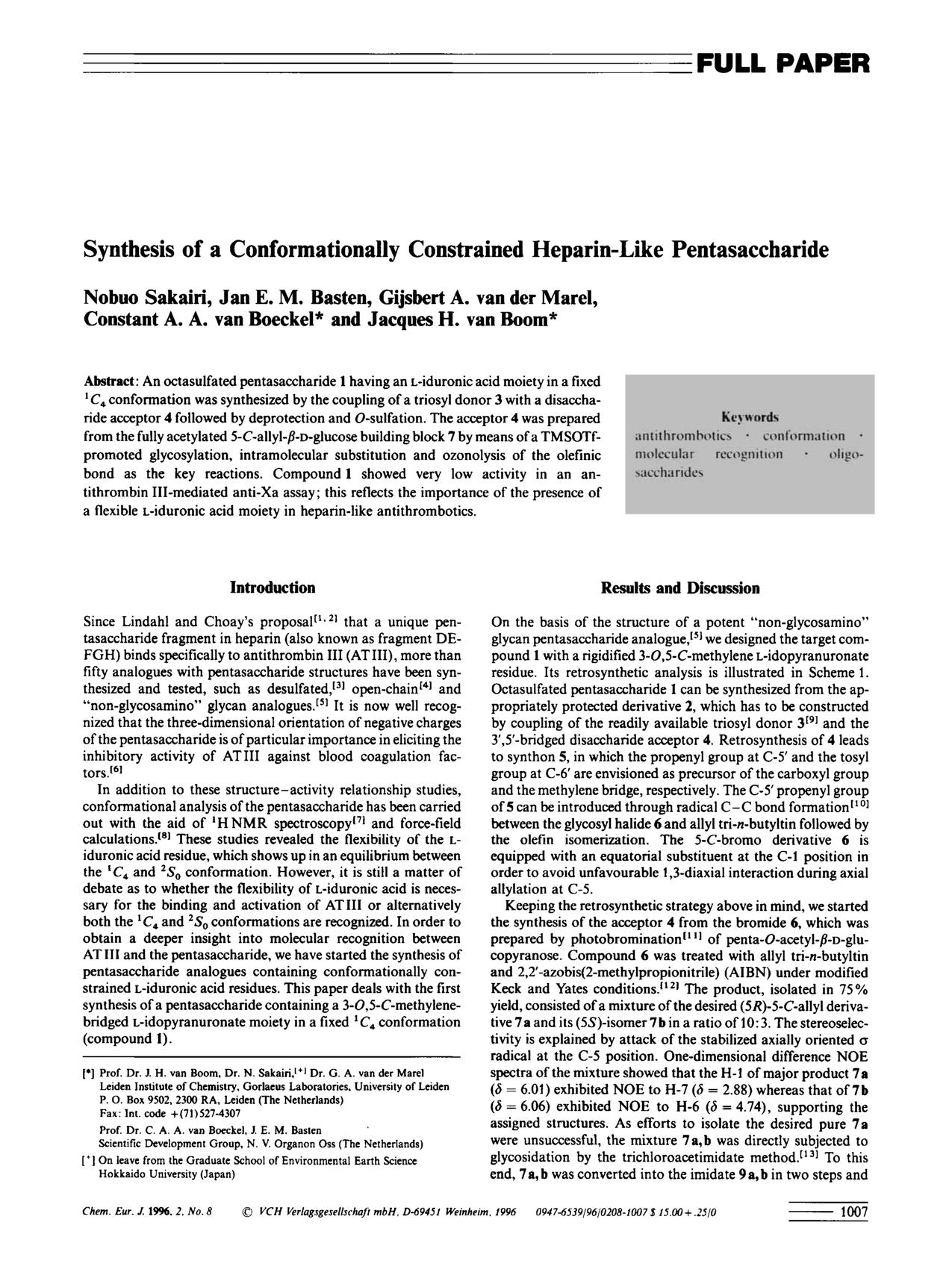 書籍の表紙 Synthesis of a Conformationally Constrained Heparin-like Pentasaccharide