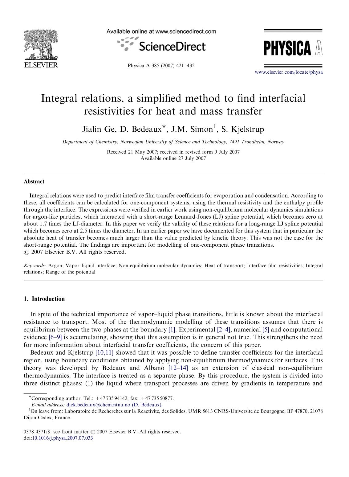 Portada del libro Integral relations, a simplified method to find interfacial resistivities for heat and mass transfer