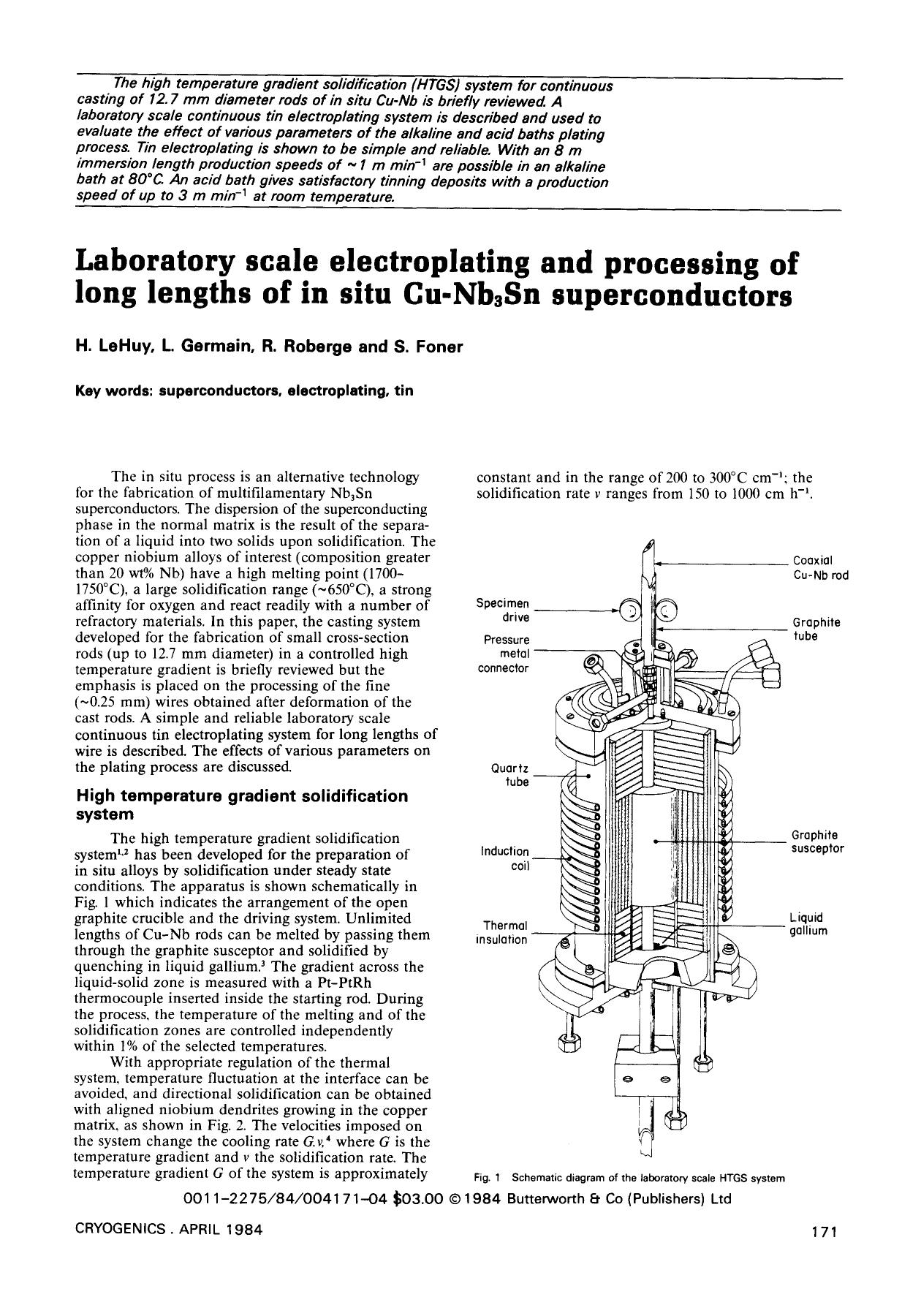 Book cover Laboratory scale electroplating and processing of long lengths of in situ Cu3Sn superconductors