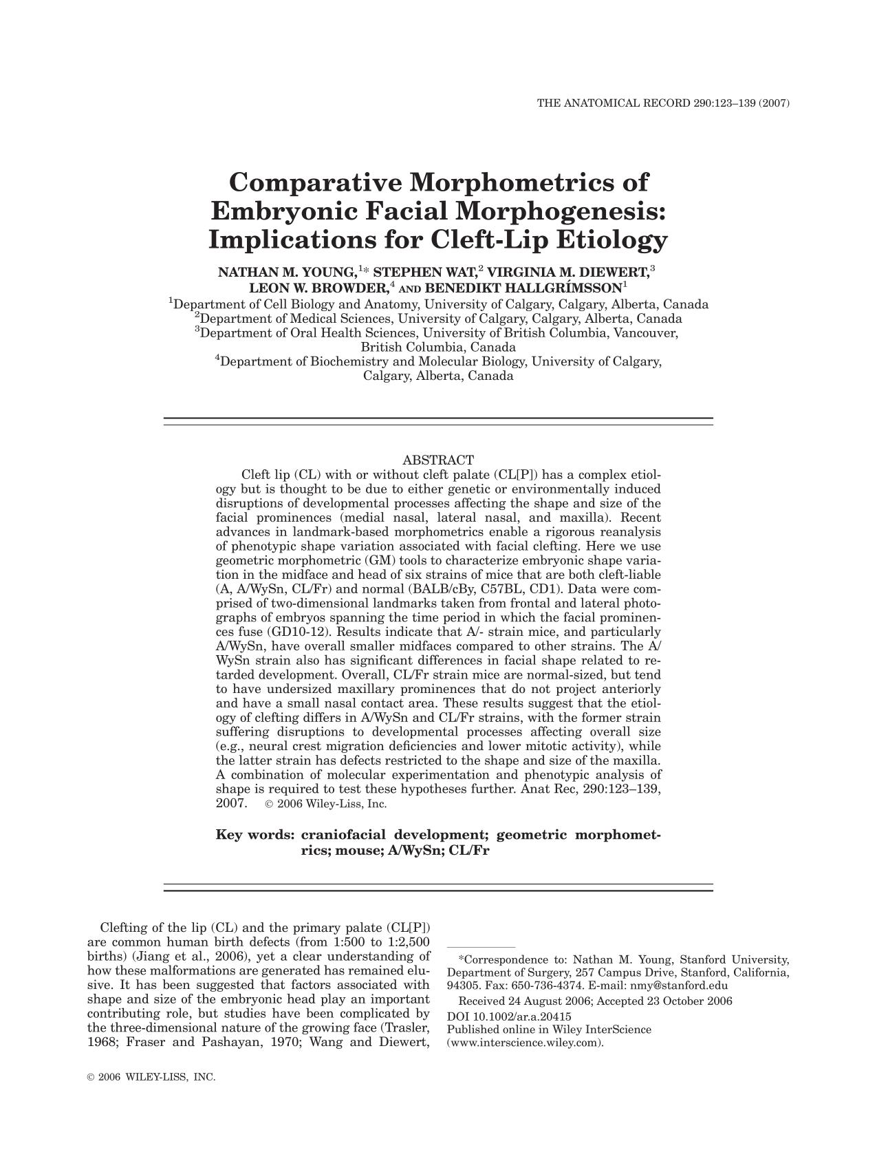 Book cover Comparative morphometrics of embryonic facial morphogenesis: Implications for cleft-lip etiology
