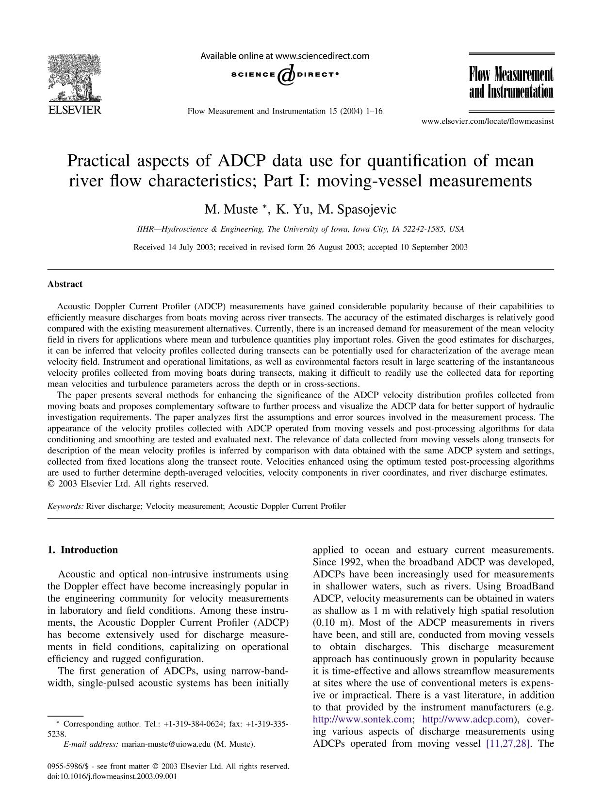 Book cover Practical aspects of ADCP data use for quantification of mean river flow characteristics; Part I: moving-vessel measurements