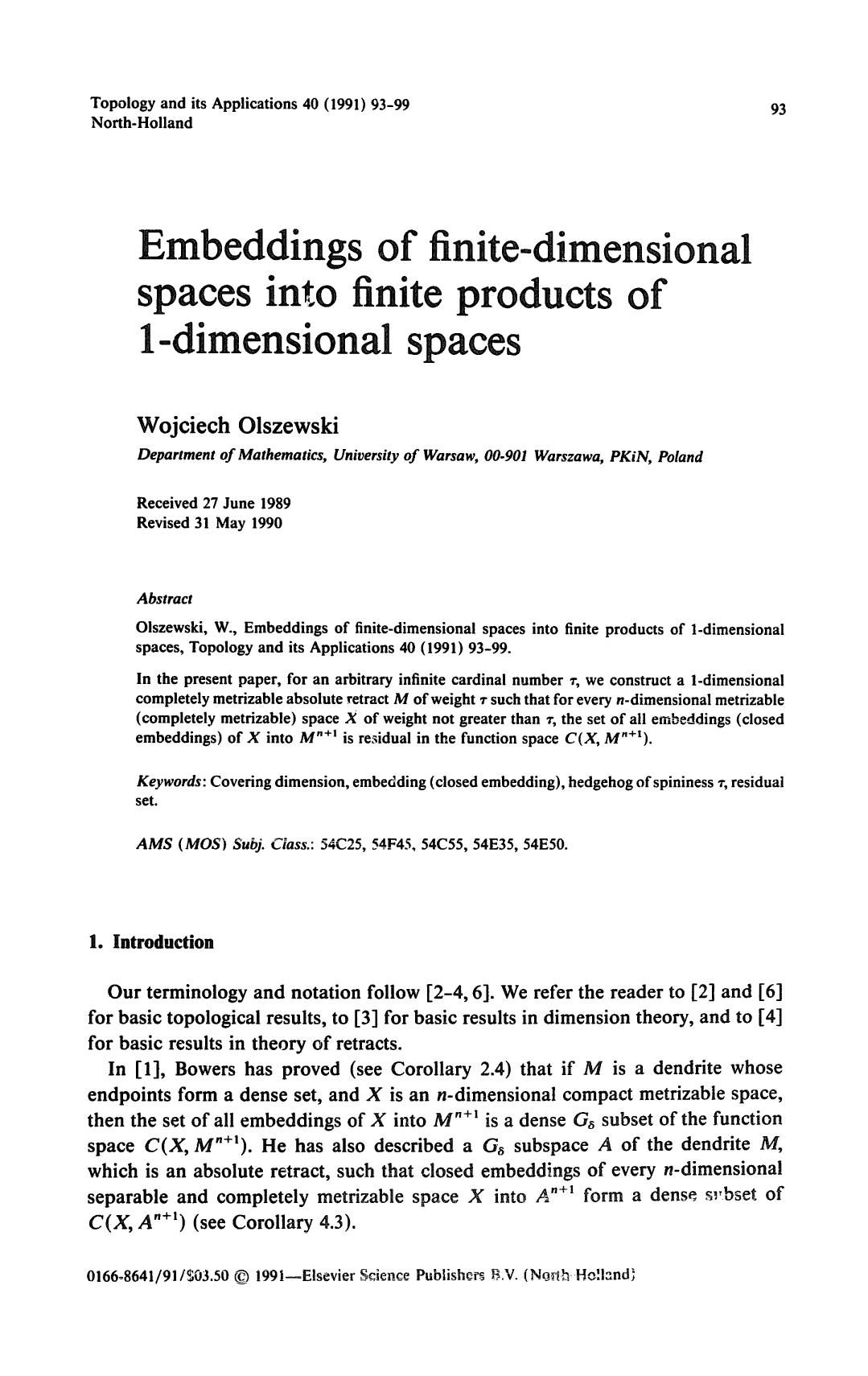 Book cover Embeddings of finite-dimensional spaces into finite products of 1-dimensional spaces