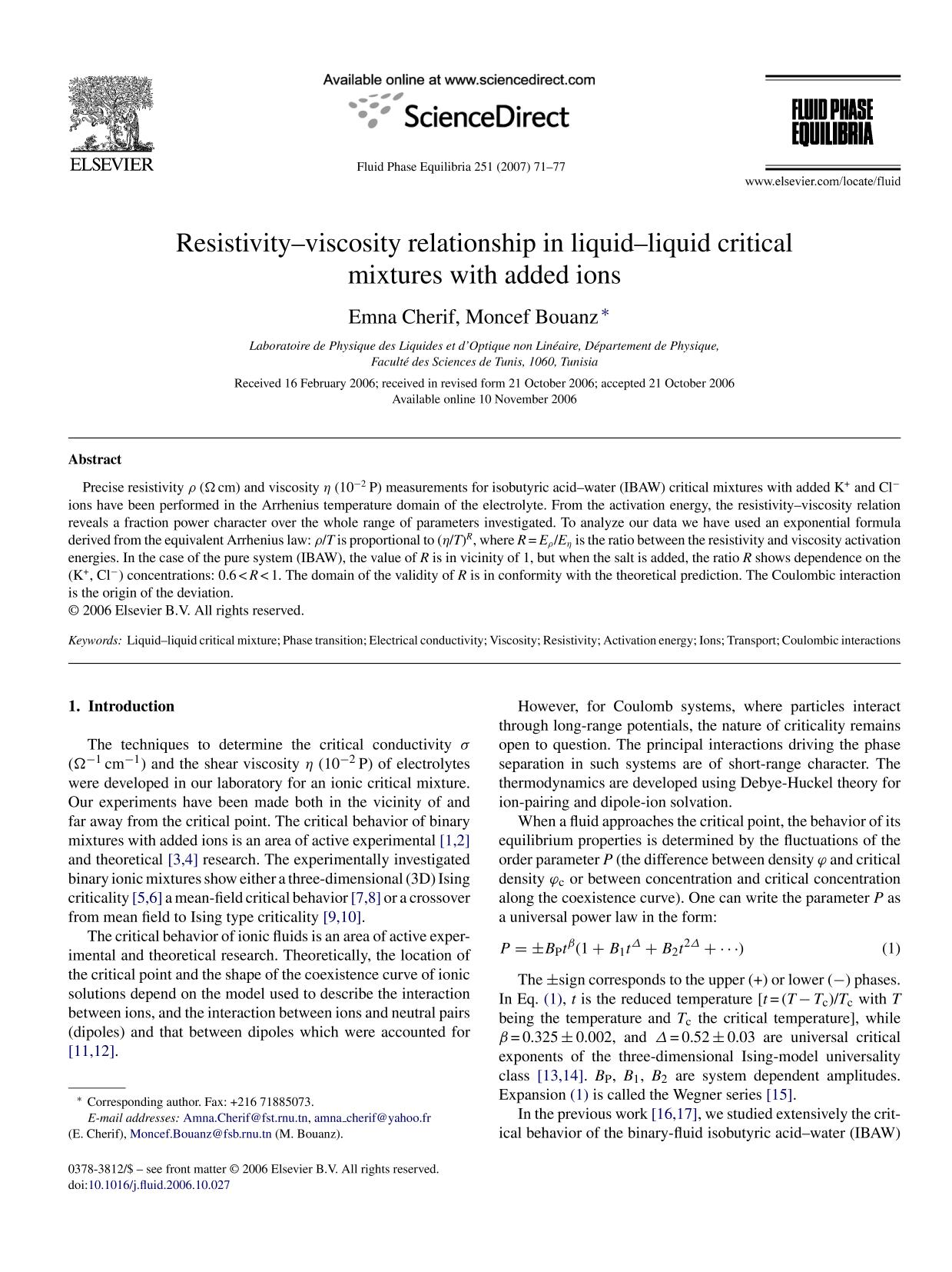 หน้าปก Resistivity–viscosity relationship in liquid–liquid critical mixtures with added ions