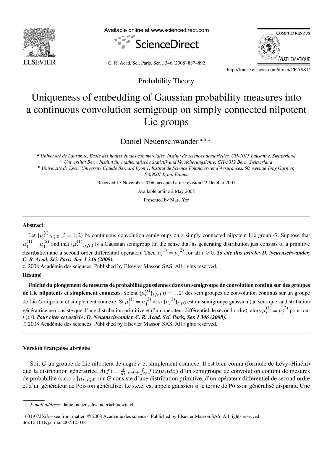 Book cover Uniqueness of embedding of Gaussian probability measures into a continuous convolution semigroup on simply connected nilpotent Lie groups